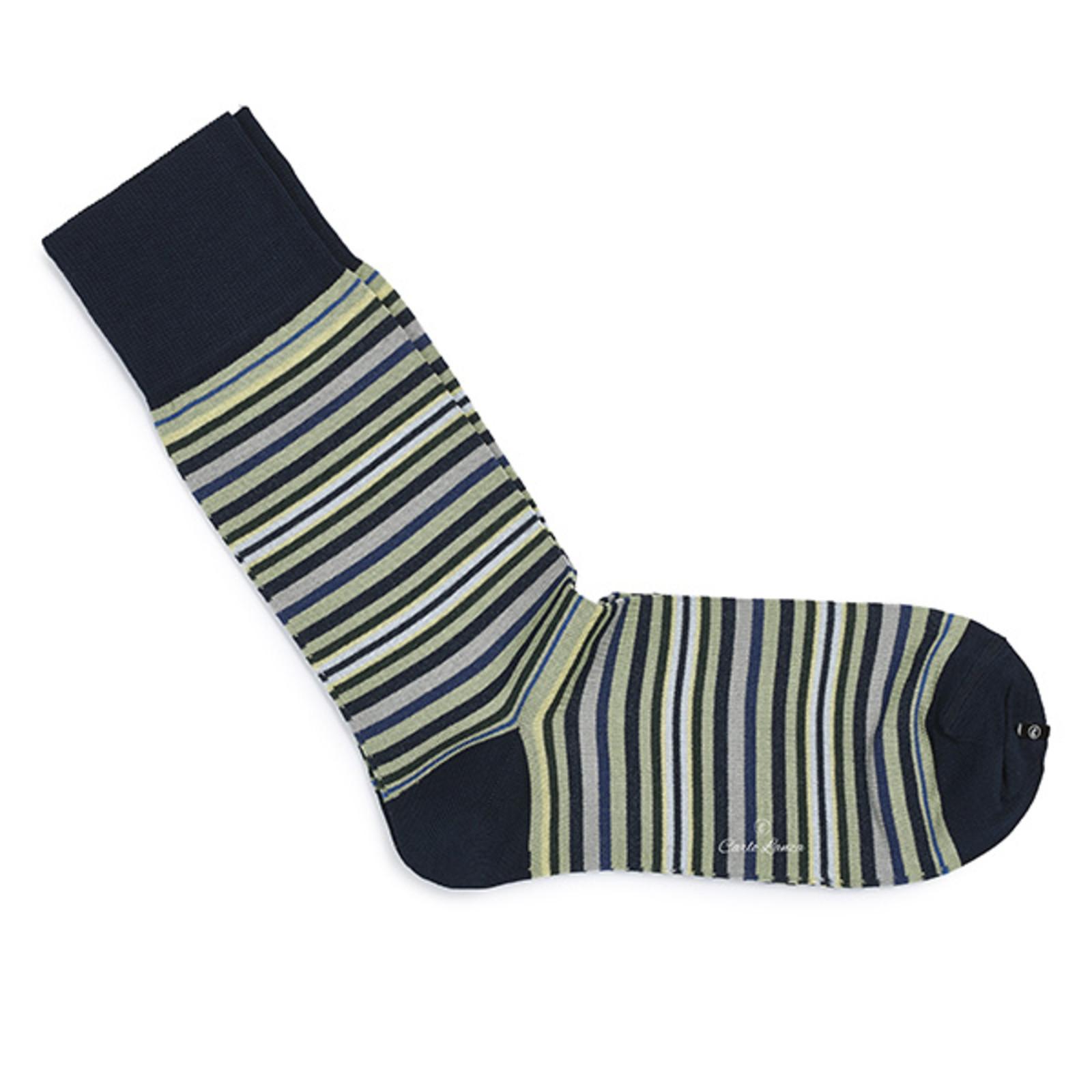 Carlo Lanza Dunkelblaue gestreifte Socken Baumwolle