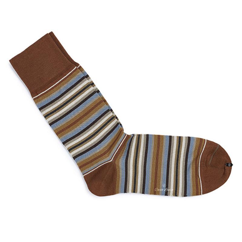 Bruine sokken streep   Carlo Lanza