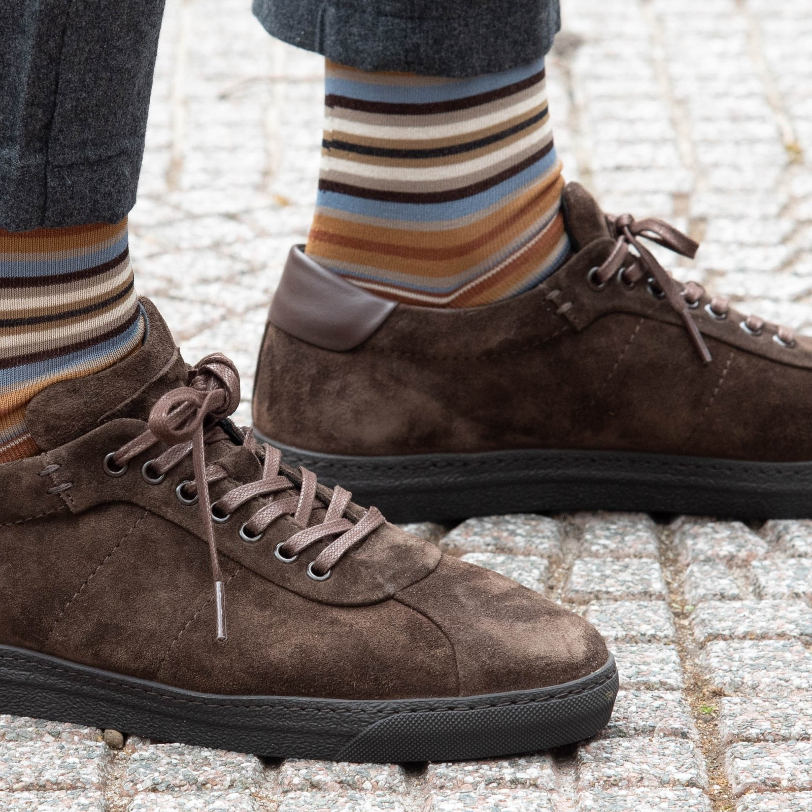 Carlo Lanza Braune gestreifte Socken Baumwolle