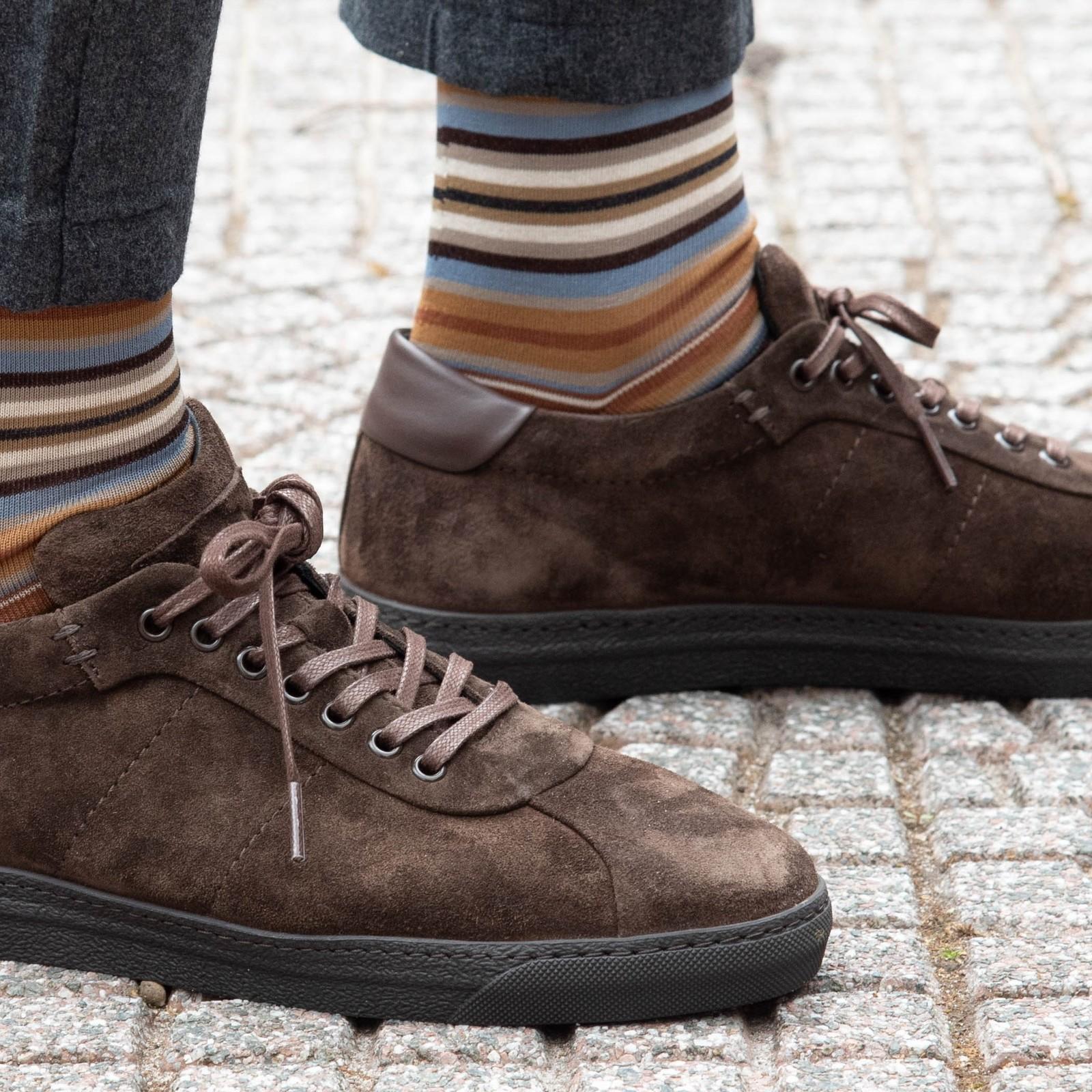 Carlo Lanza Bruine sokken streep   Carlo Lanza