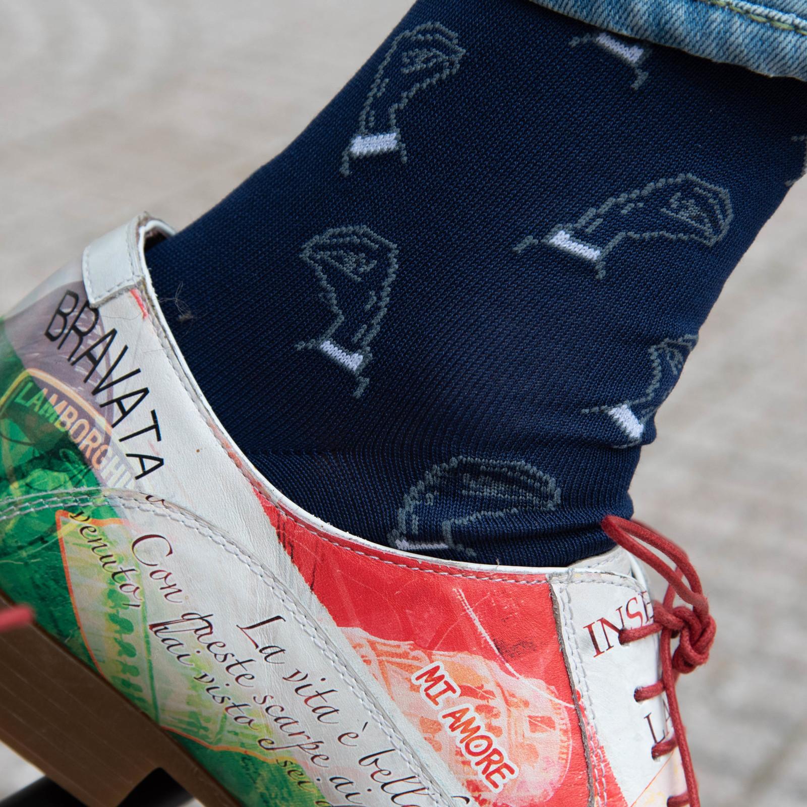 Carlo Lanza Königsblaue italienische Gesten Socken Baumwolle
