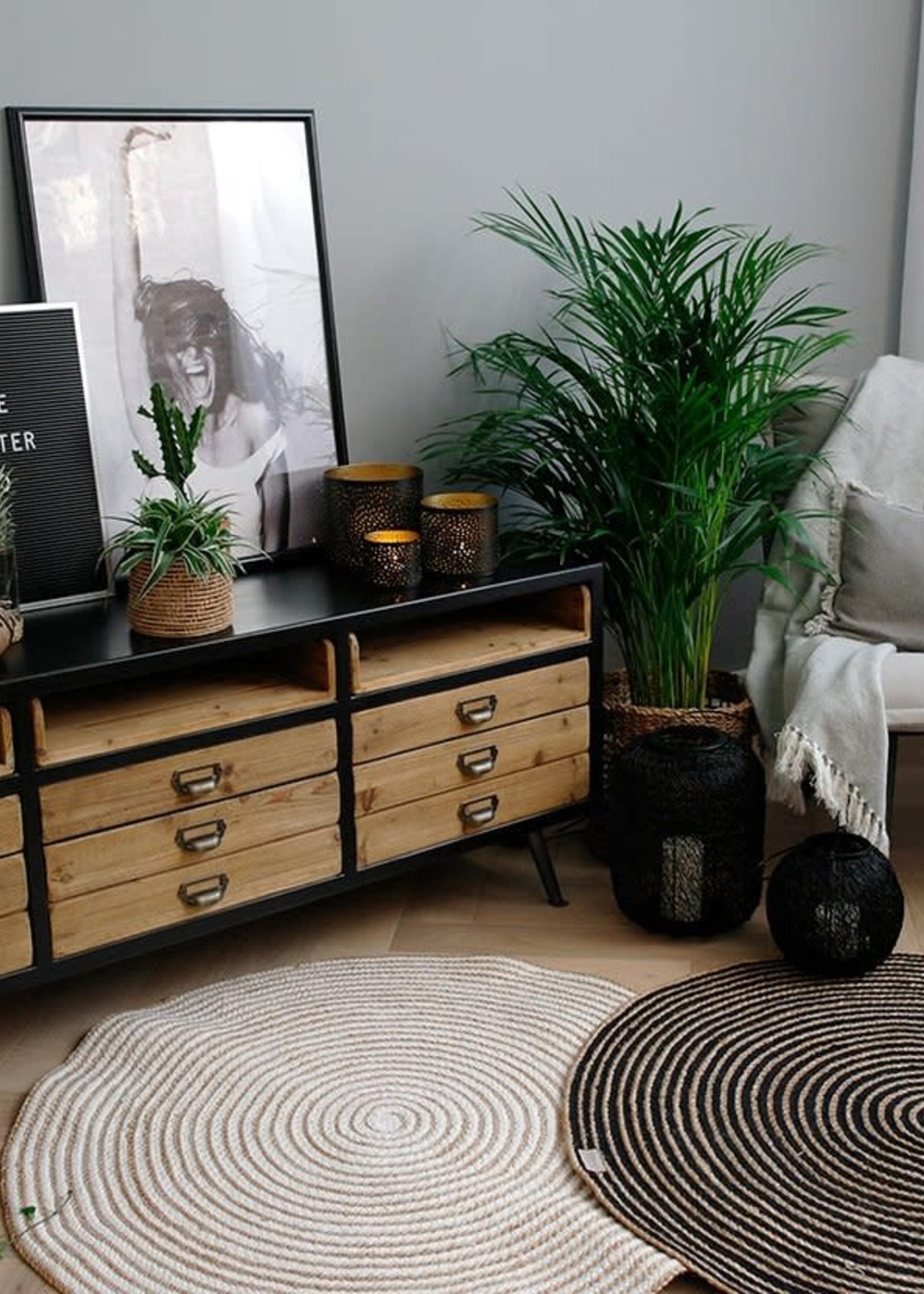 Yoshiko Yoshiko -Hanoi- Rond Vloerkleed  Natural/Black