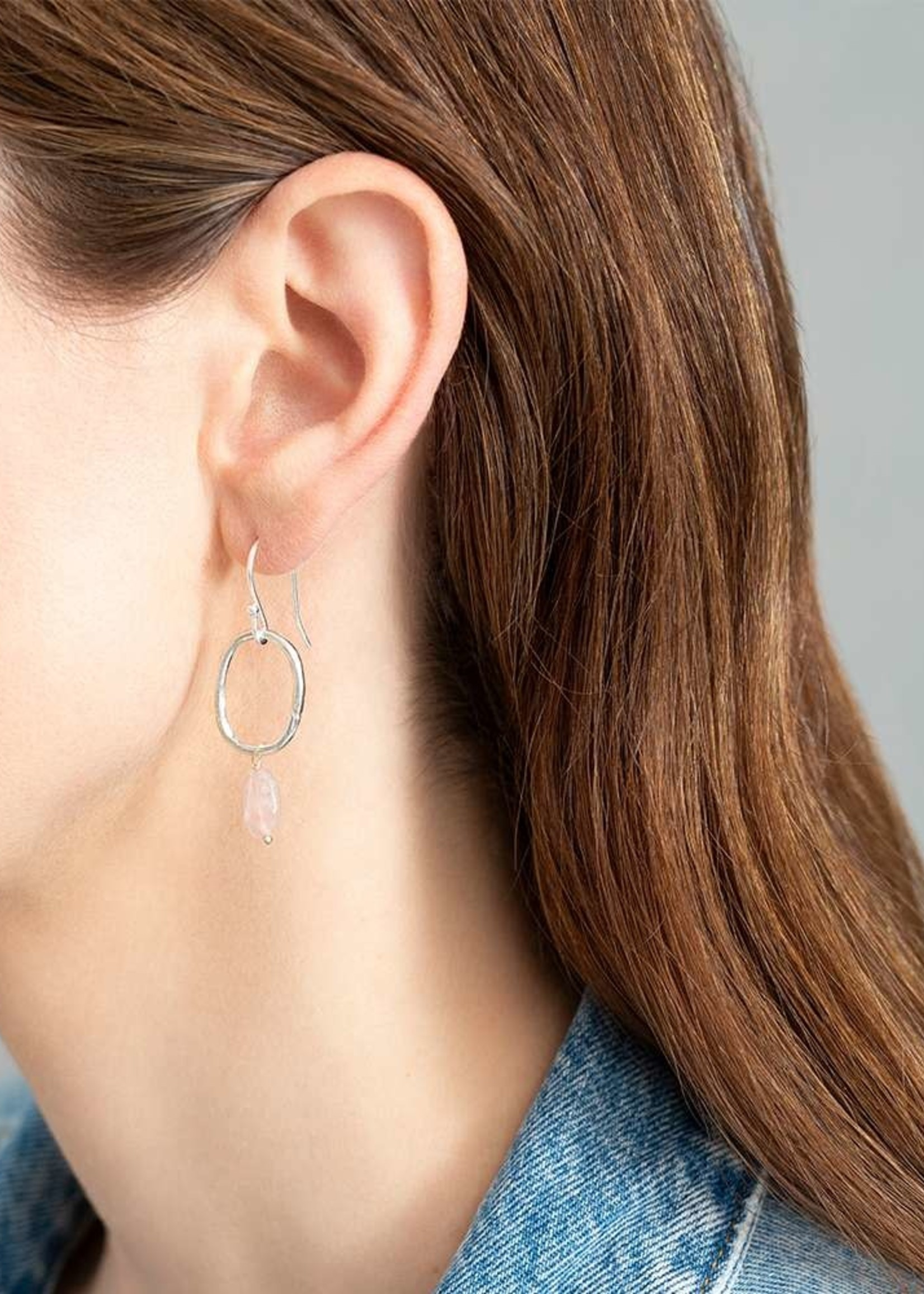 A Beautiful Story Graceful Rose Quartz Silver Earrings