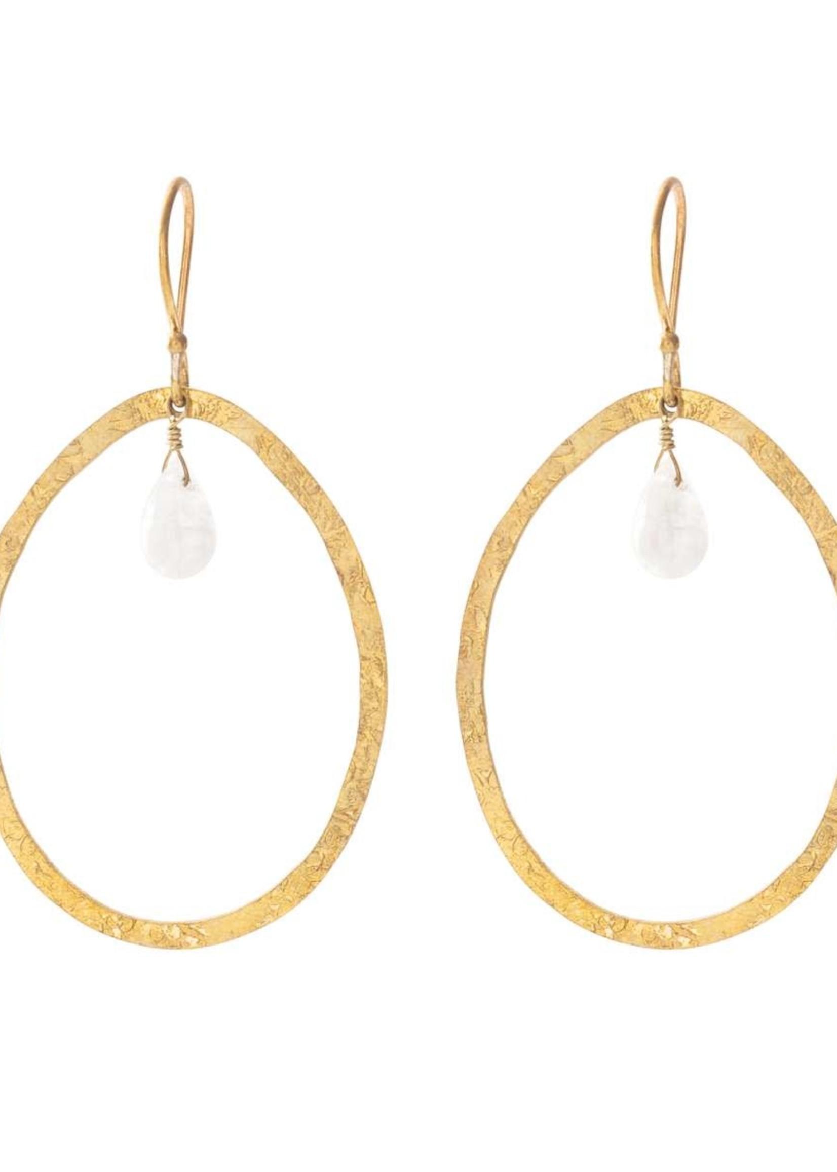 A Beautiful Story Ellipse Moonstone Gold Earrings
