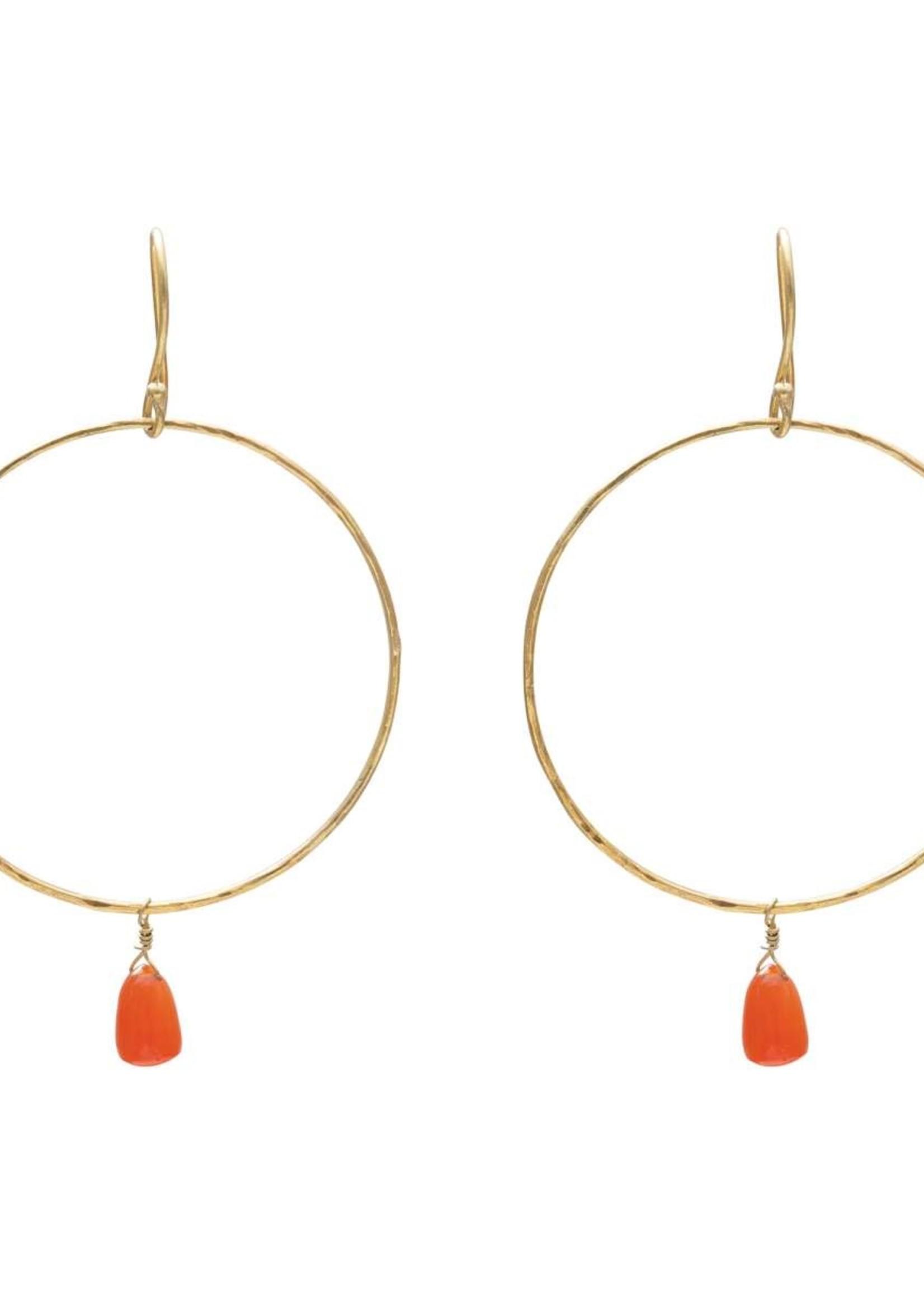 A Beautiful Story Embrace Carnelian Gold Earrings