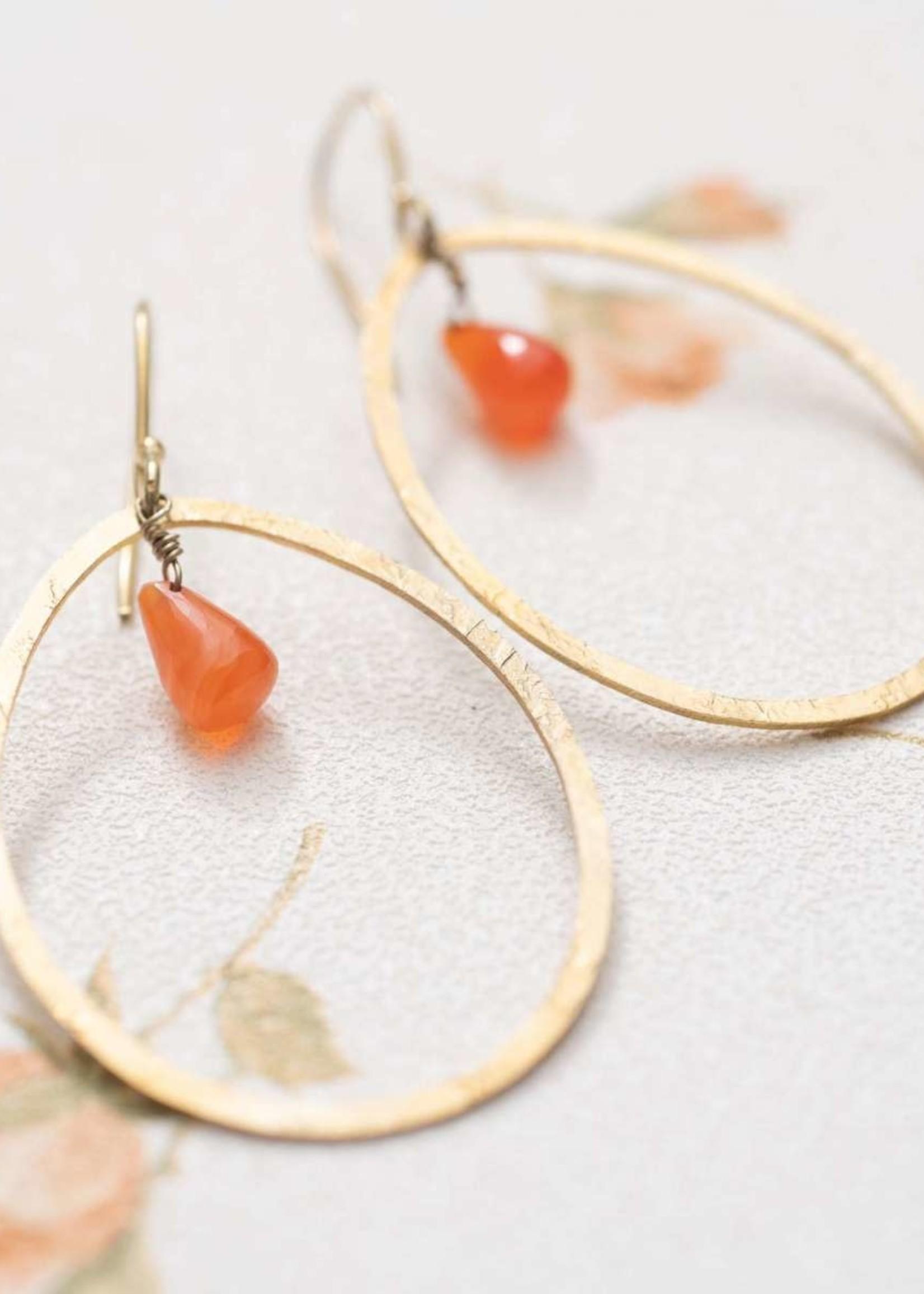A Beautiful Story Ellipse Carnelian Gold Earrings