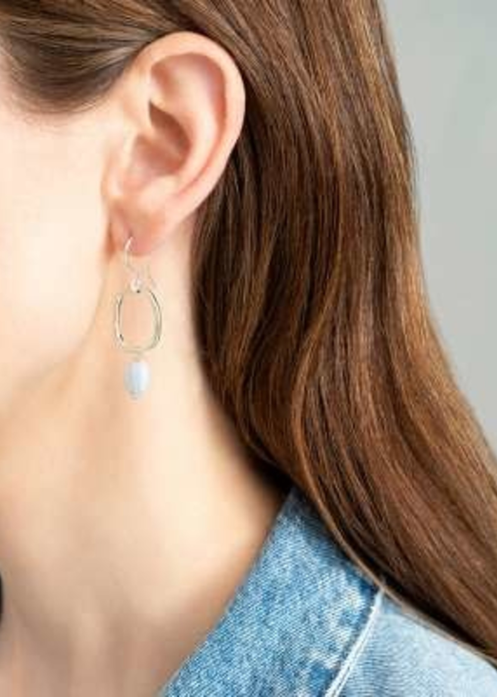 A Beautiful Story Graceful Blue Lace Agate Silver Earrings