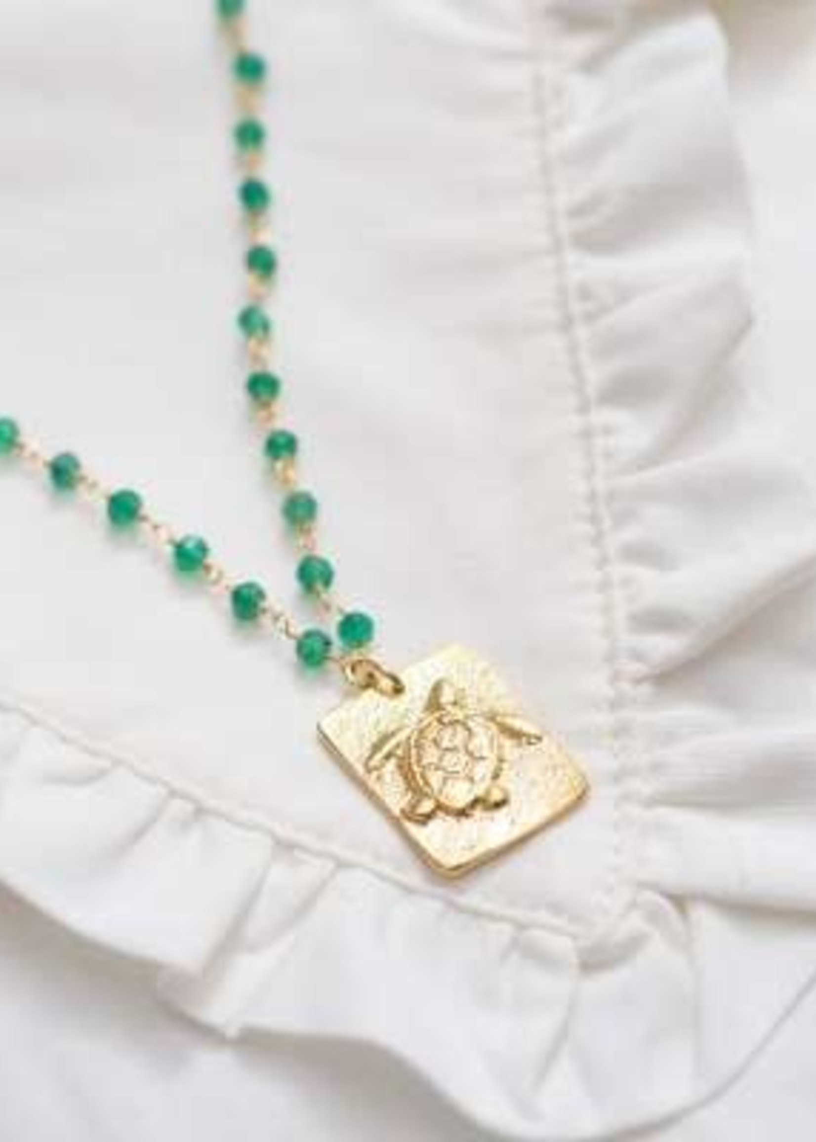 A Beautiful Story Radiate Aventurine Gold Necklace