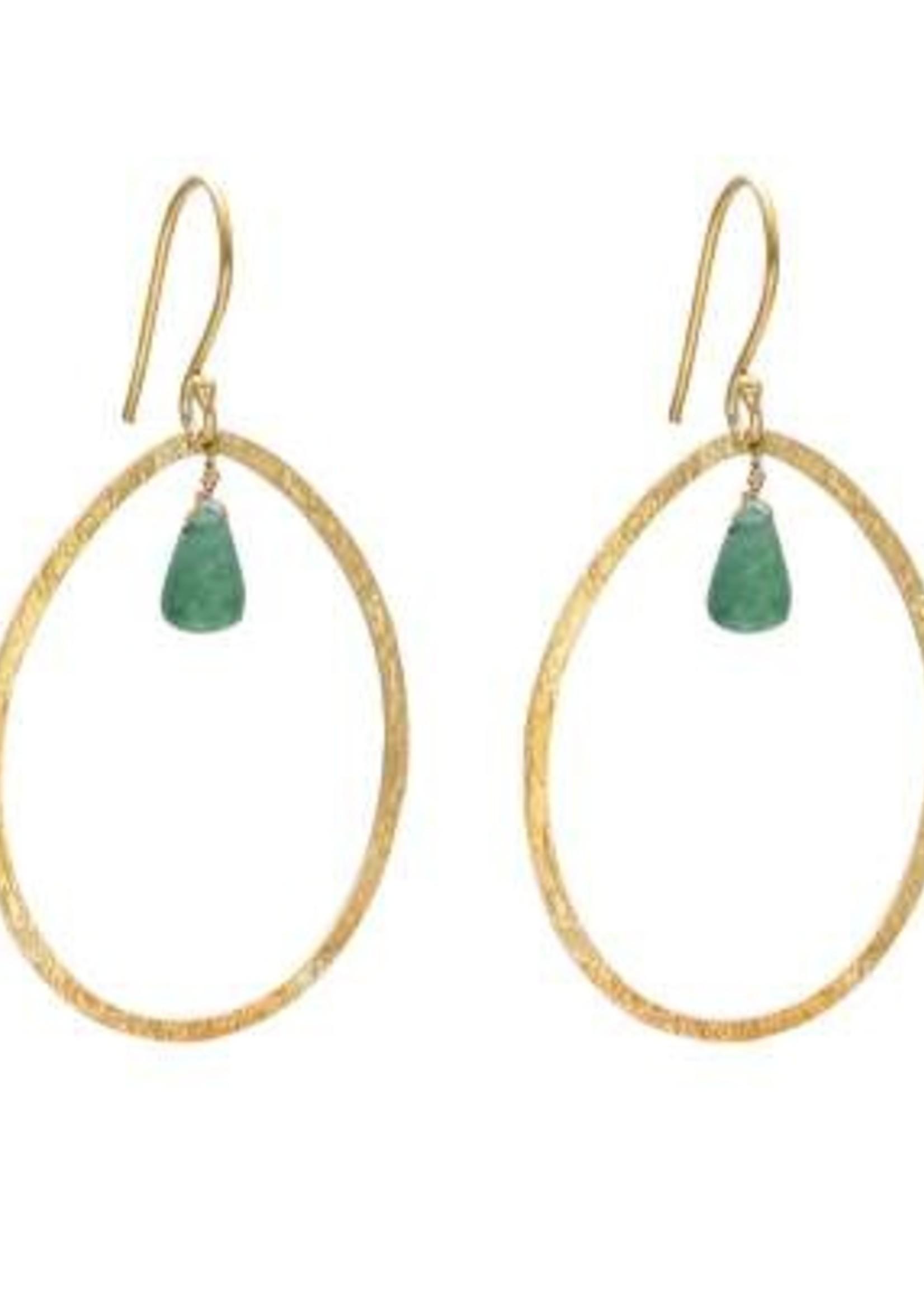 A Beautiful Story Ellipse Aventurine Gold Earrings