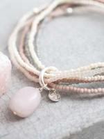 A Beautiful Story Nirmala Rose Quartz Silver Bracelet