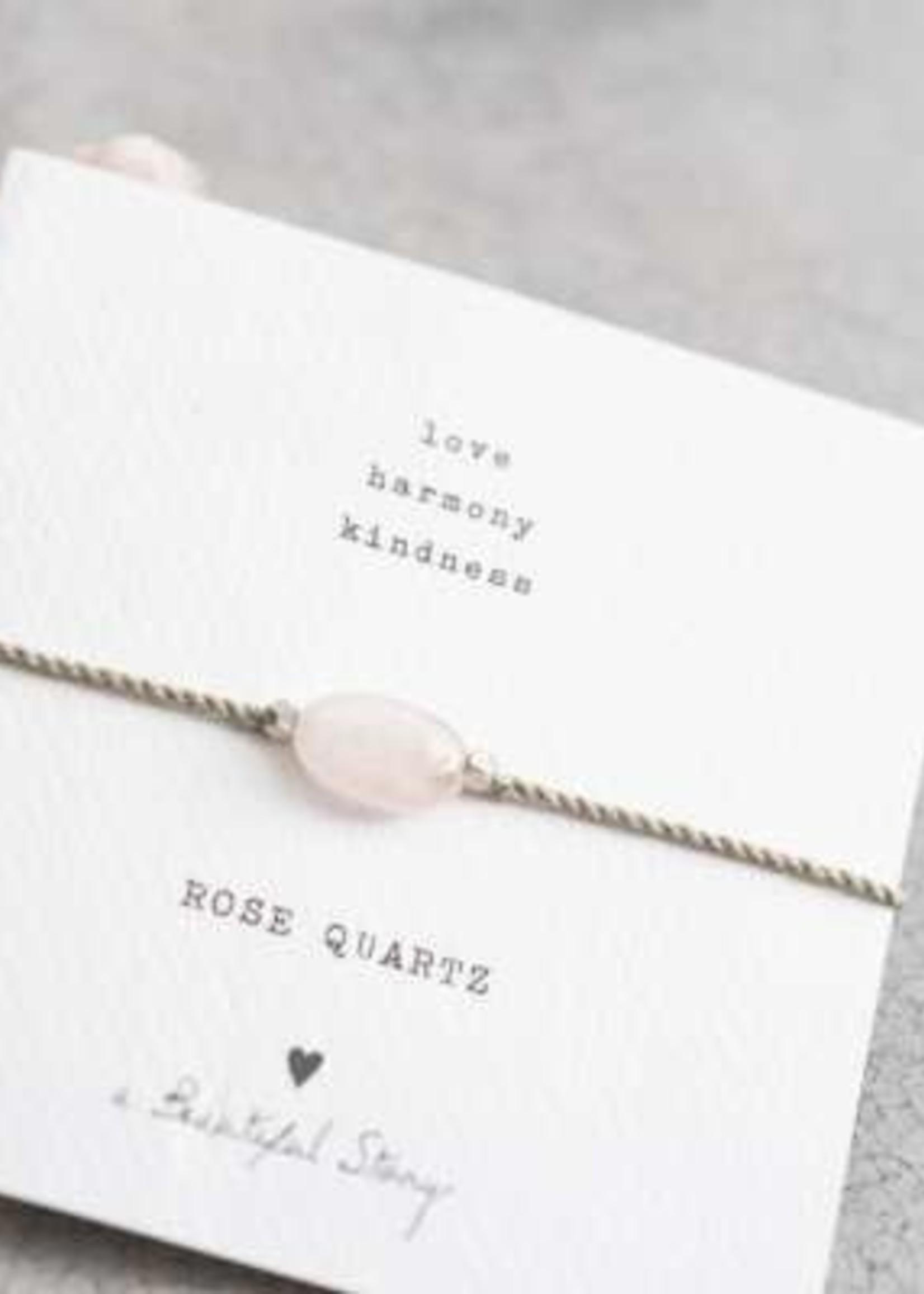 A Beautiful Story Gemstone Card Rose Quartz Silver Bracelet