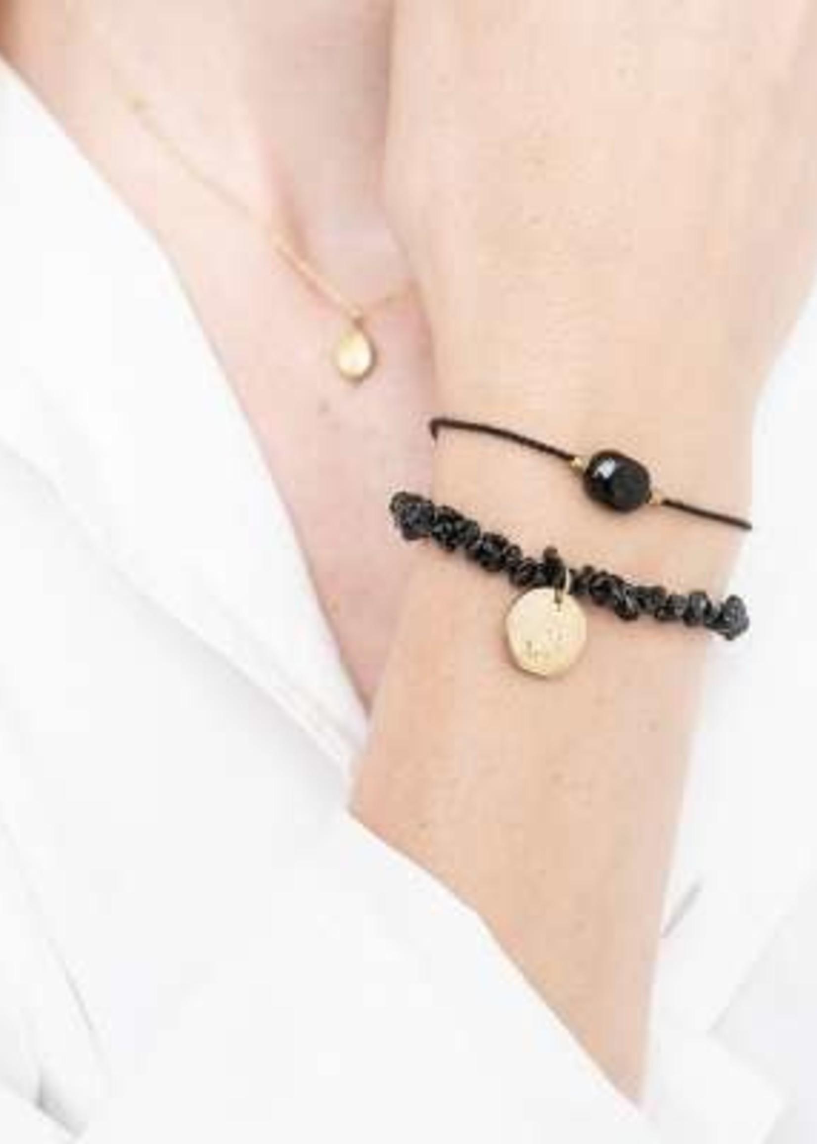 A Beautiful Story Gemstone Card Black Onyx Gold Bracelet