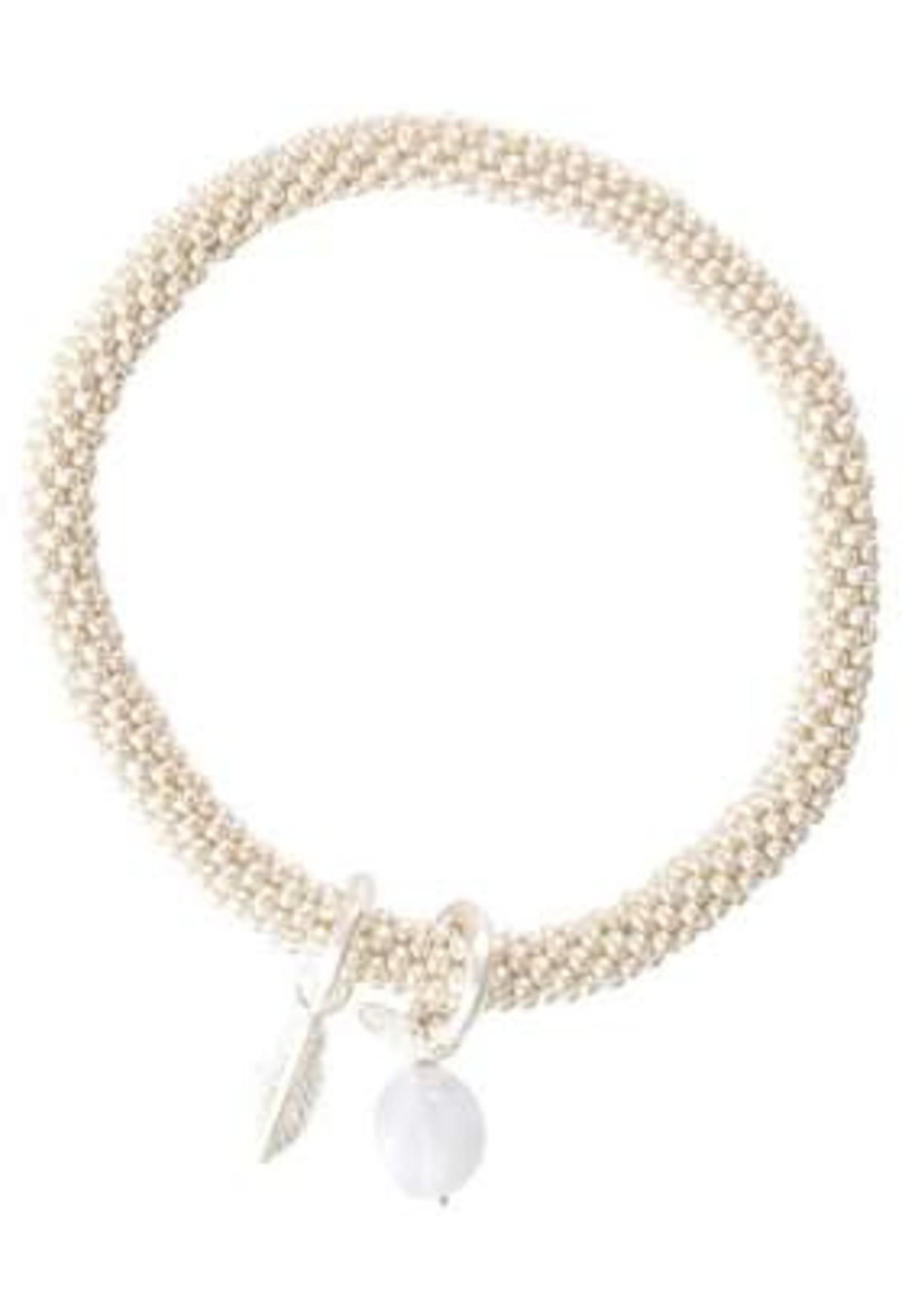 A Beautiful Story Jacky Blue Lace Agate Feather Silver Bracelet