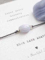 A Beautiful Story Gemstone Card Blue Lace Agate Silver Bracelet