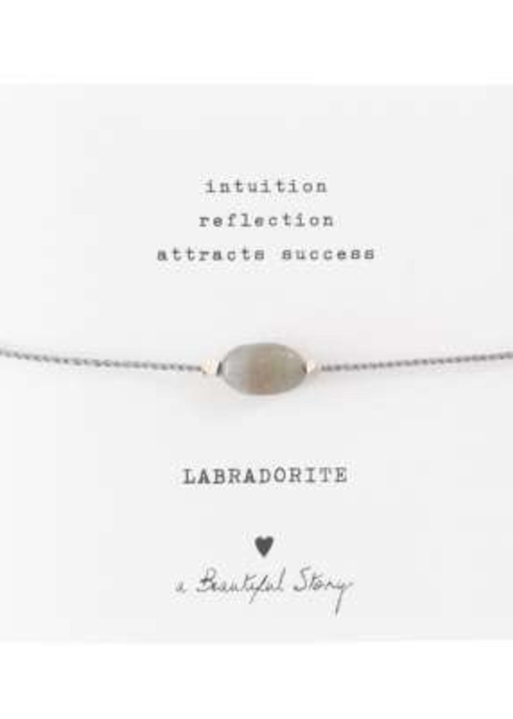A Beautiful Story Gemstone Card Labradorite Silver Bracelet