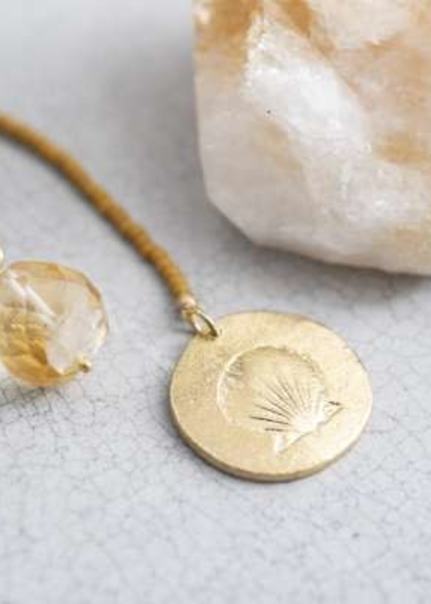 A Beautiful Story Fairy Citrine Shell Gold Necklace