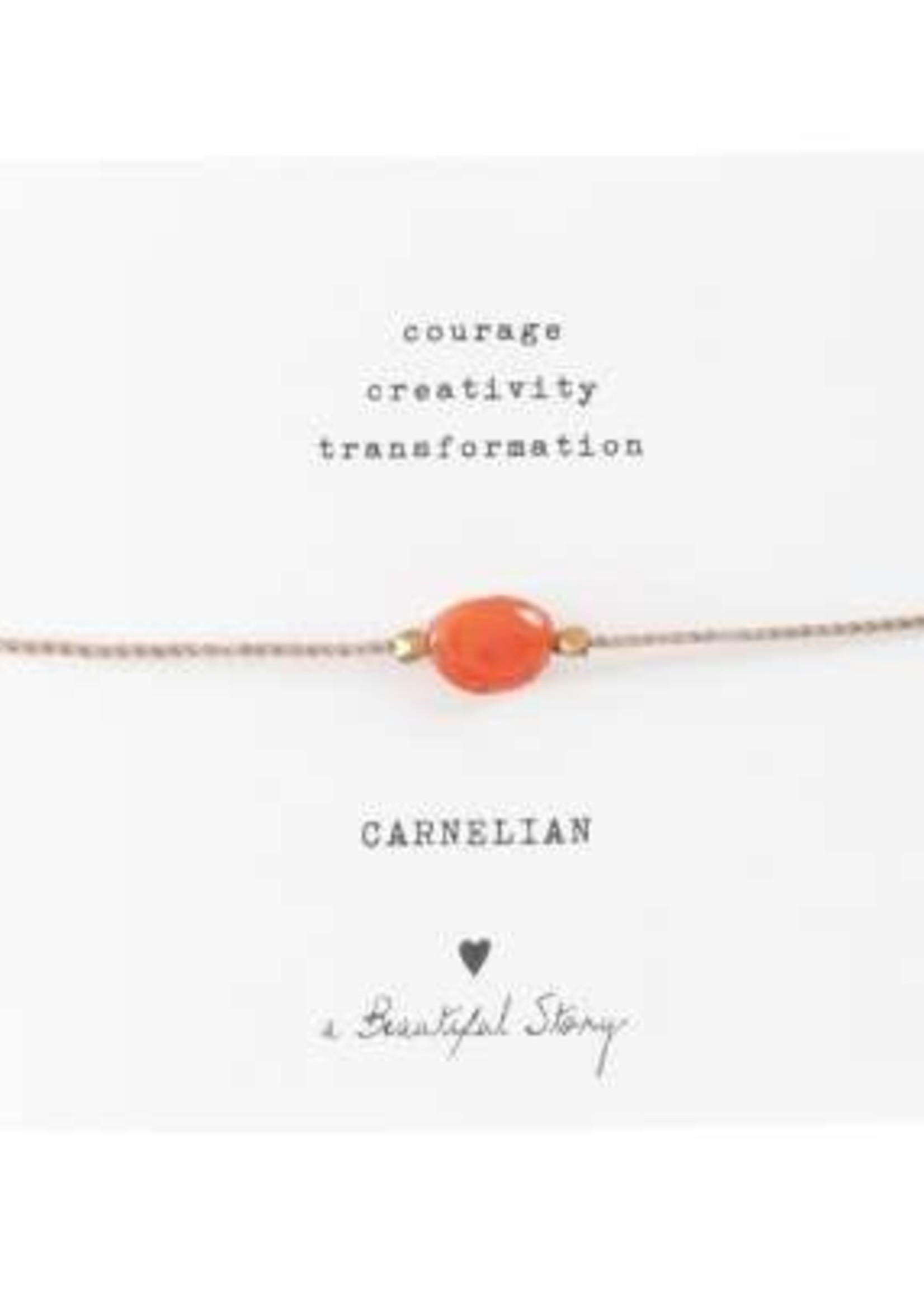 A Beautiful Story Gemstone Card Carnelian Gold Bracelet