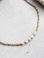 A Beautiful Story Confetti Moonstone Gold Anklet