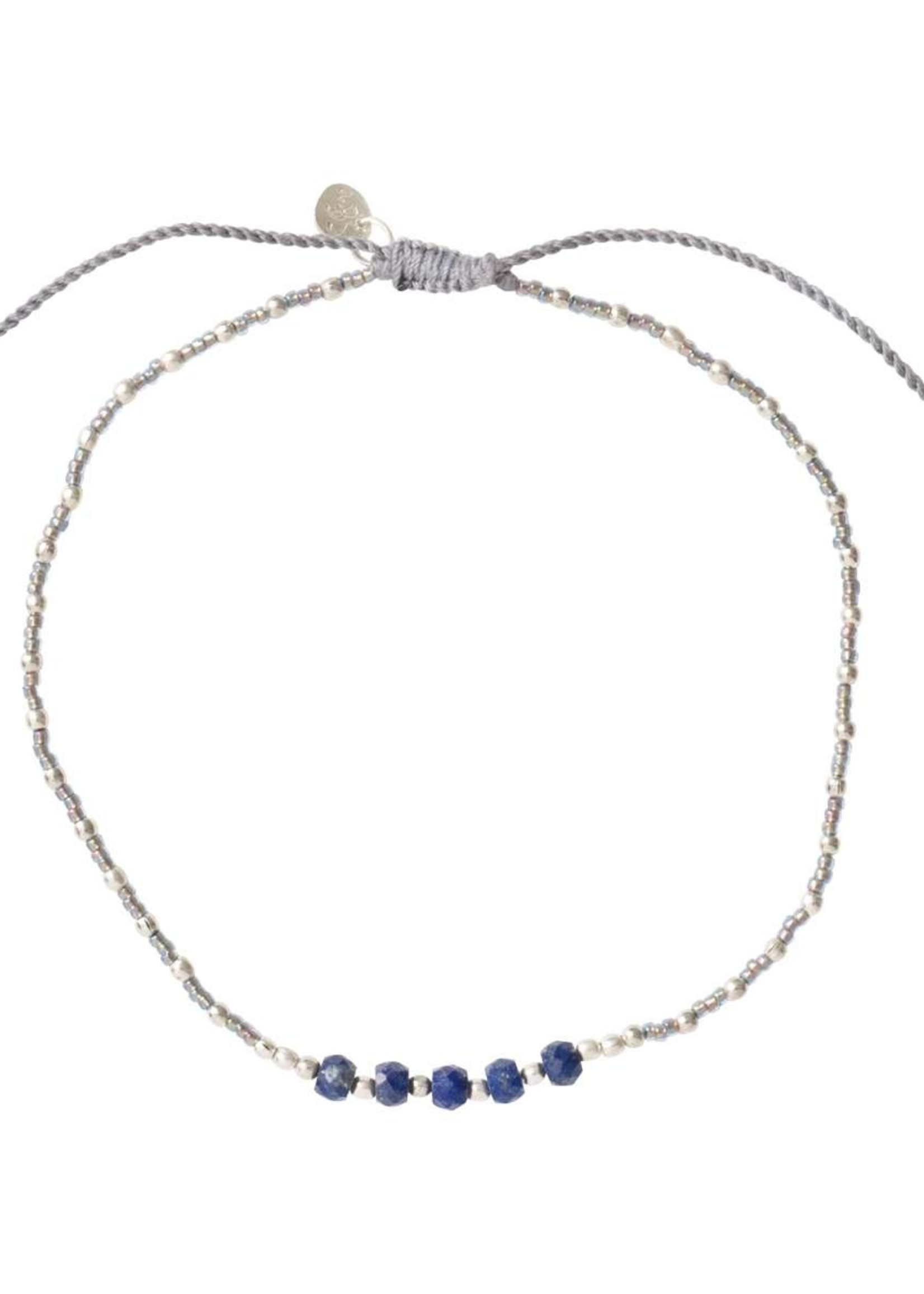 A Beautiful Story Confetti Lapis Lazuli Silver Anklet