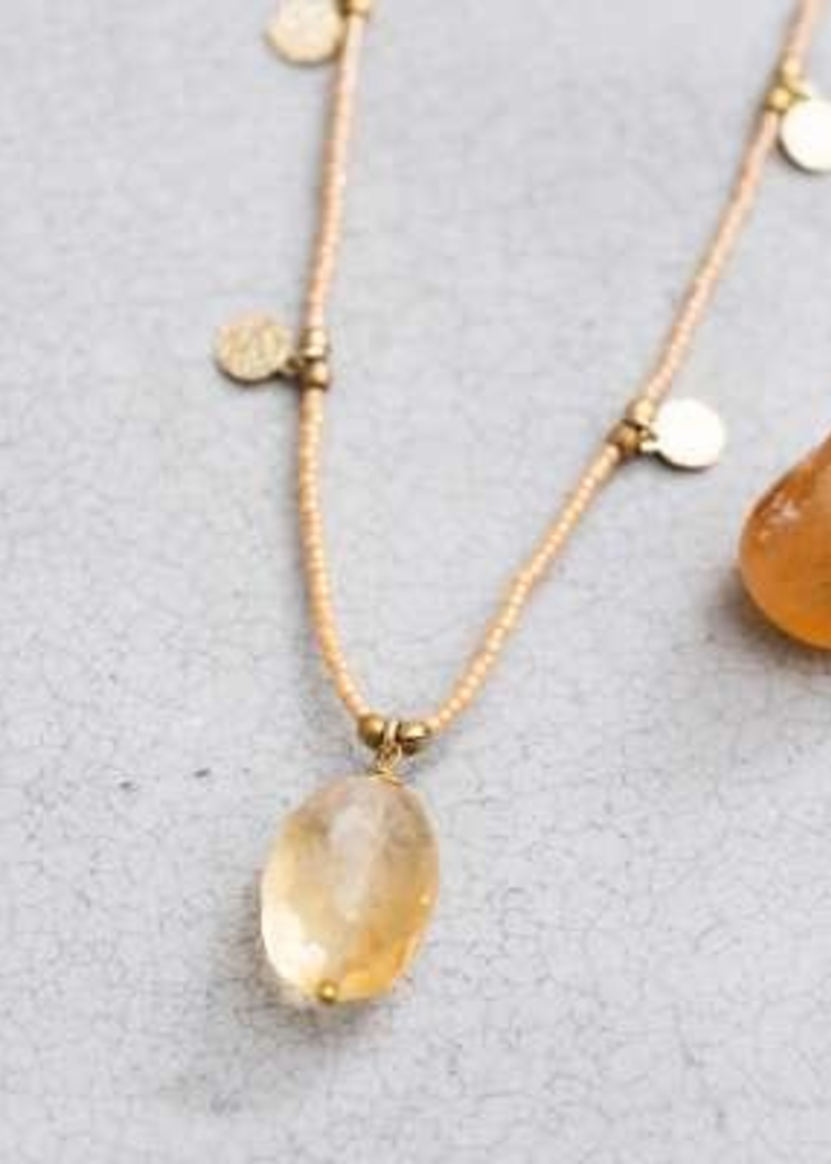 A Beautiful Story Charming Citrine Gold Necklace