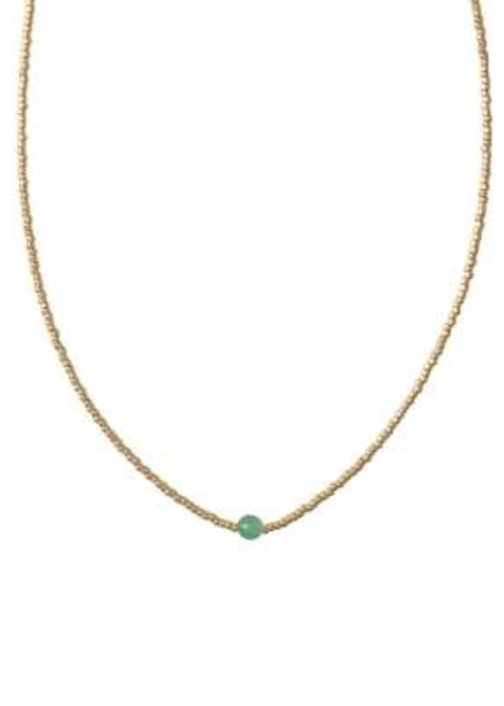 A Beautiful Story Flora Aventurine Gold Necklace