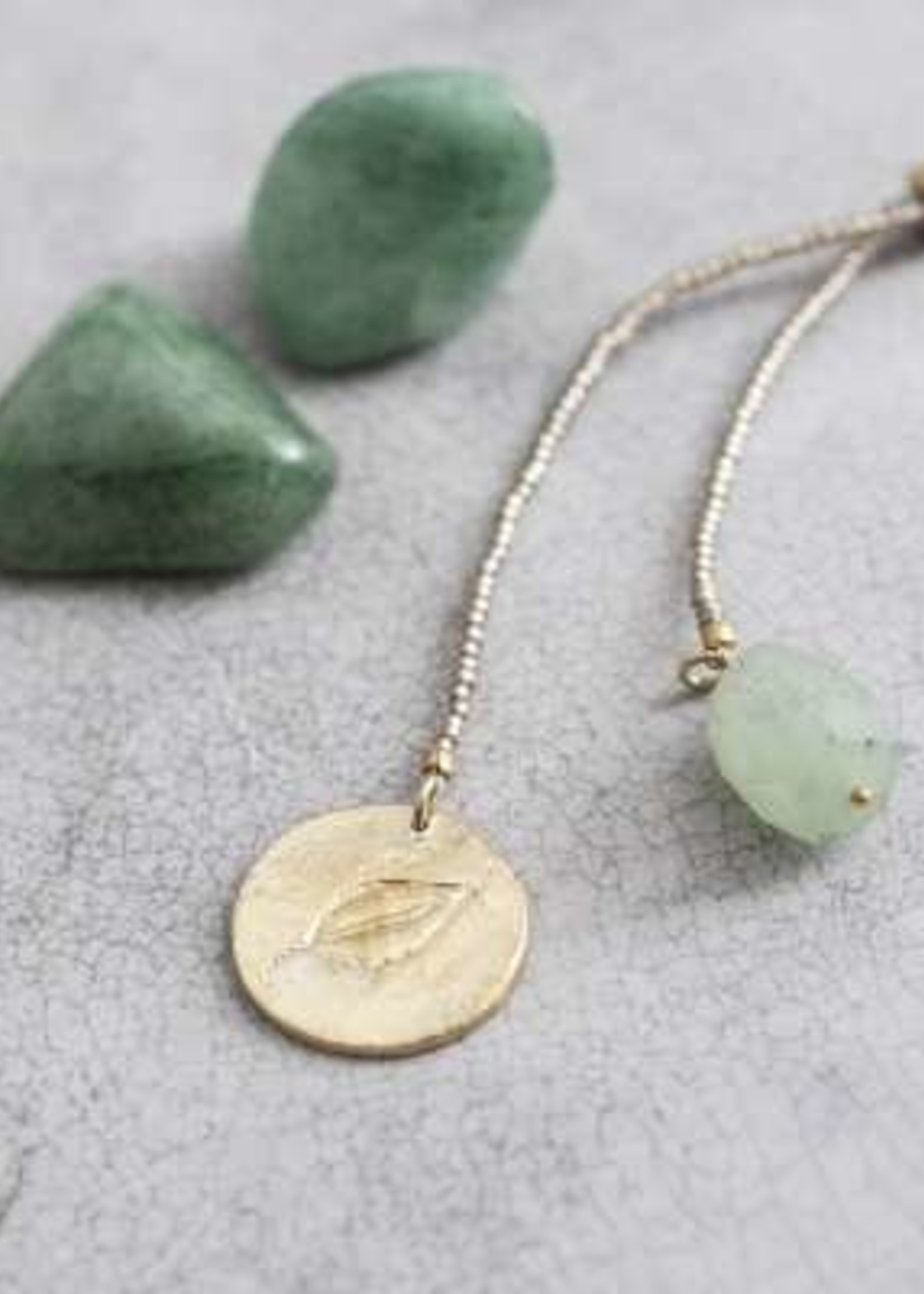 A Beautiful Story Fairy Aventurine Leaf Gold Necklace