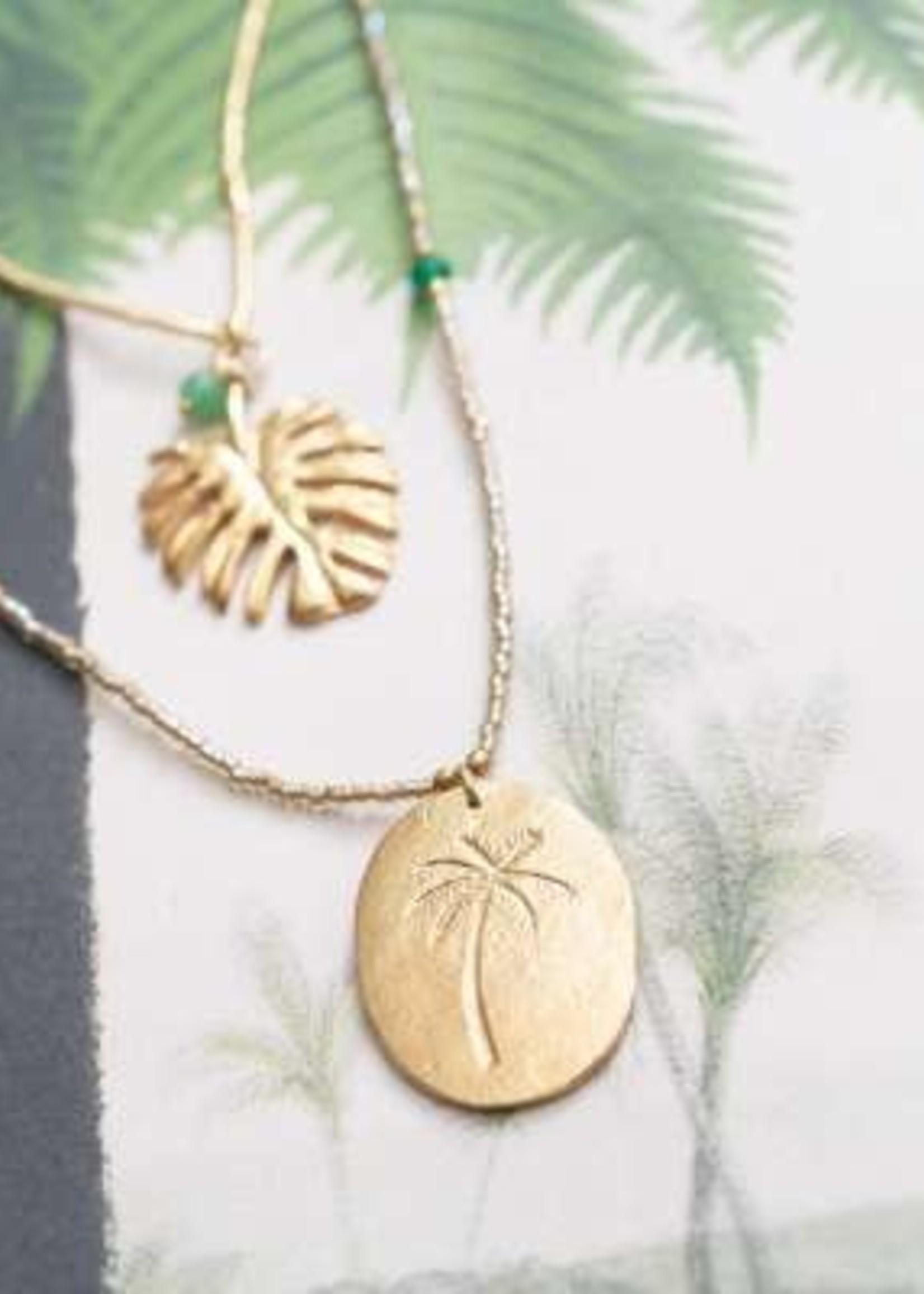 A Beautiful Story Swing Aventurine Gold Necklace