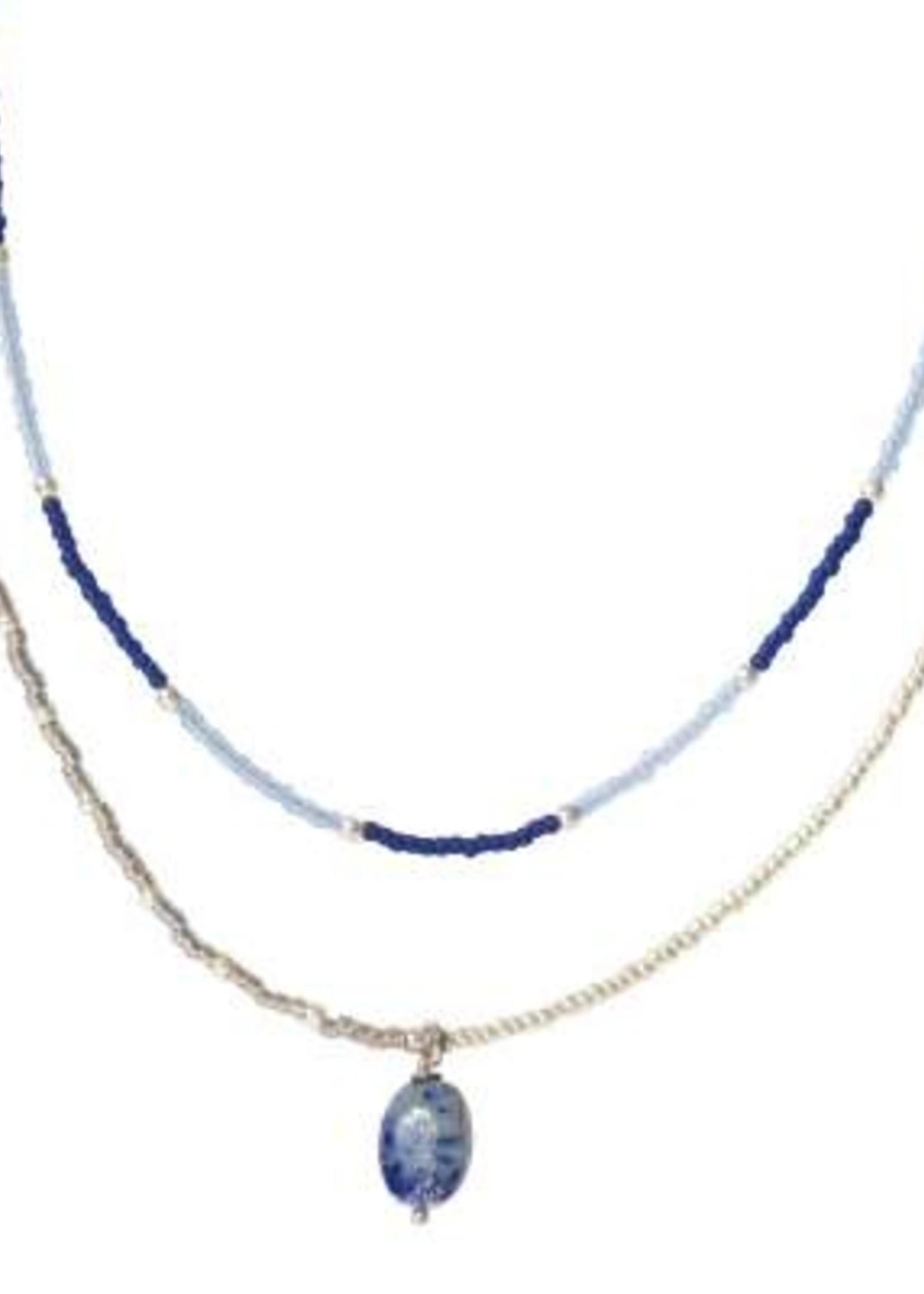 A Beautiful Story Rainbow Lapis Lazuli Silver Necklace