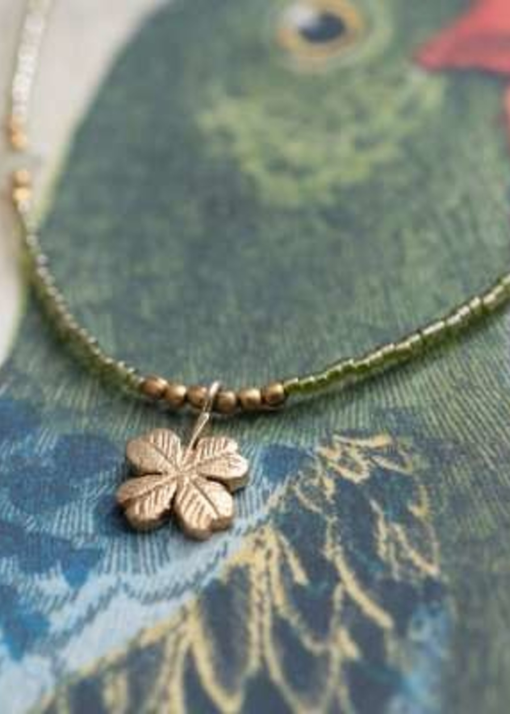 A Beautiful Story Wildflower Aventurine Gold Necklace