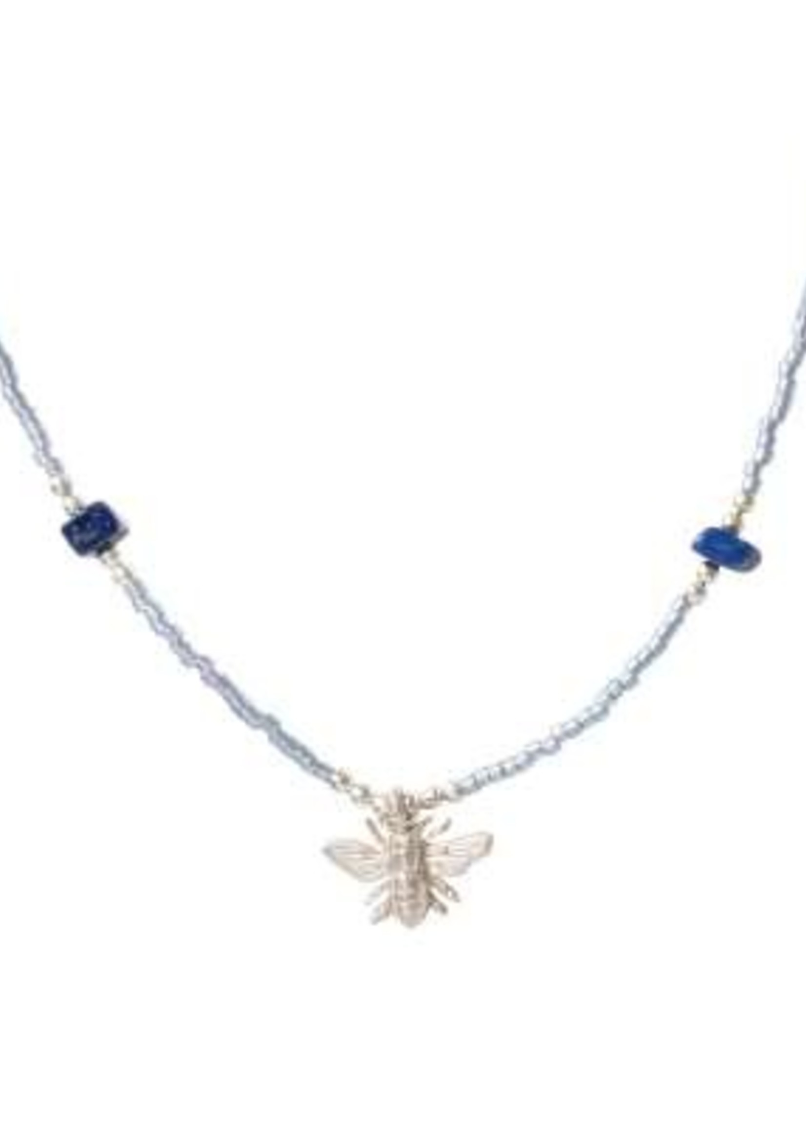 A Beautiful Story Wildflower Lapis Lazuli Silver Necklace