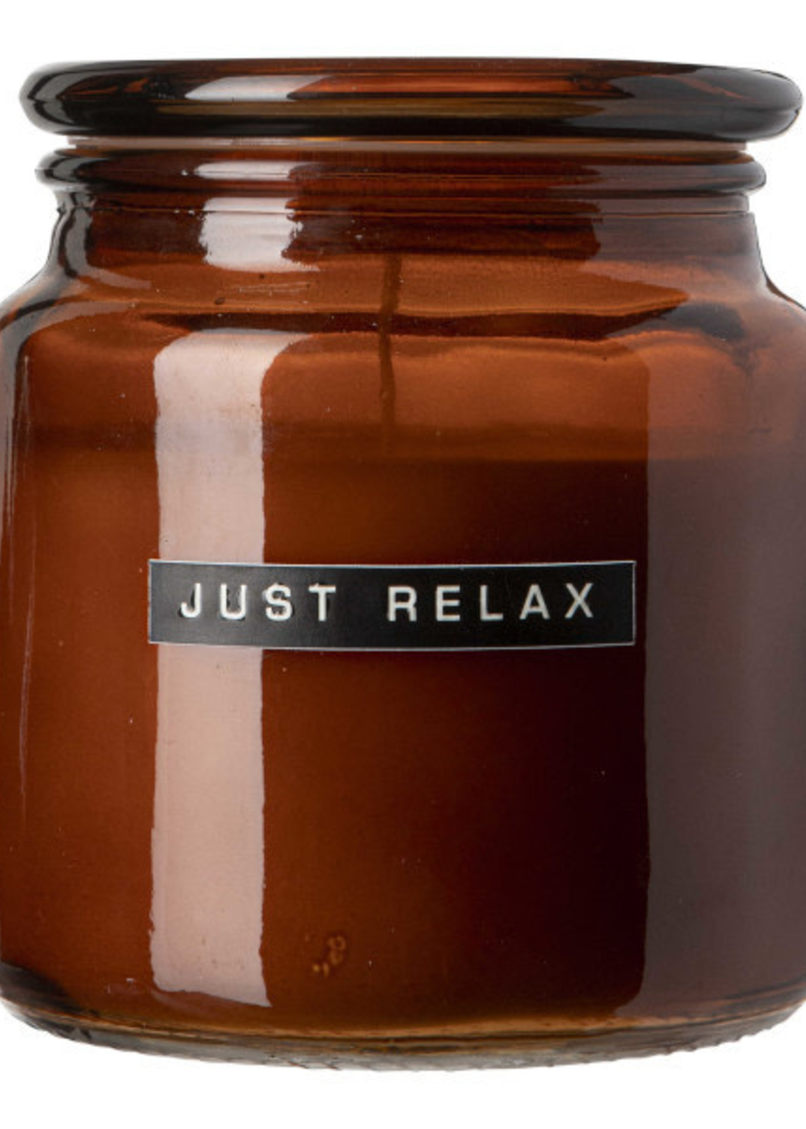 WELLmark WELLmark - Grote geurkaars cedarwood bruin - glas 'just relax'