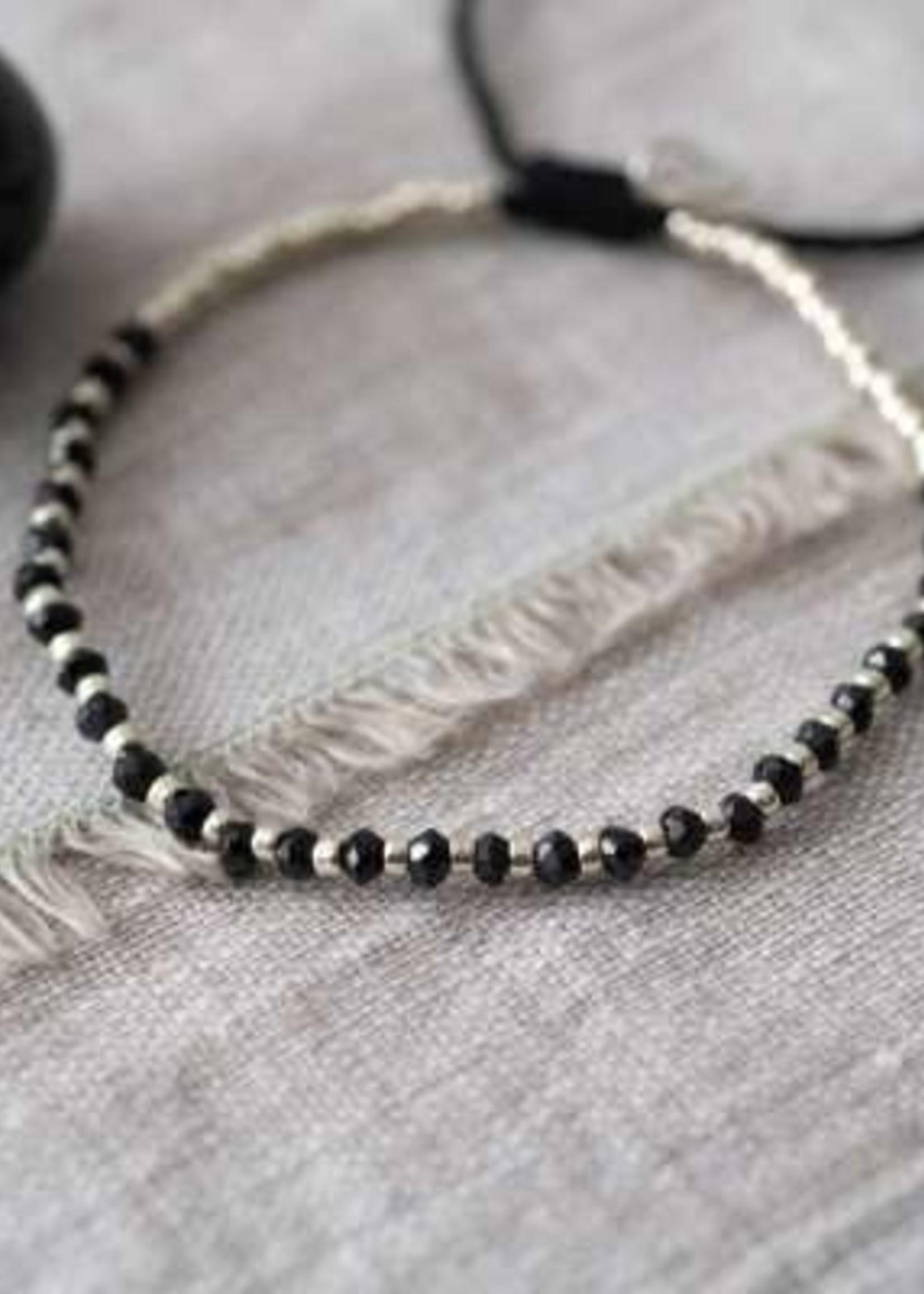 A Beautiful Story a Beautiful Story Beautiful Zwarte Onyx Zilver Armband