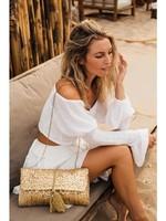 Mycha Ibiza Mycha - Ibiza - Jute rechthoekige Clutch Cala Brassa Goud