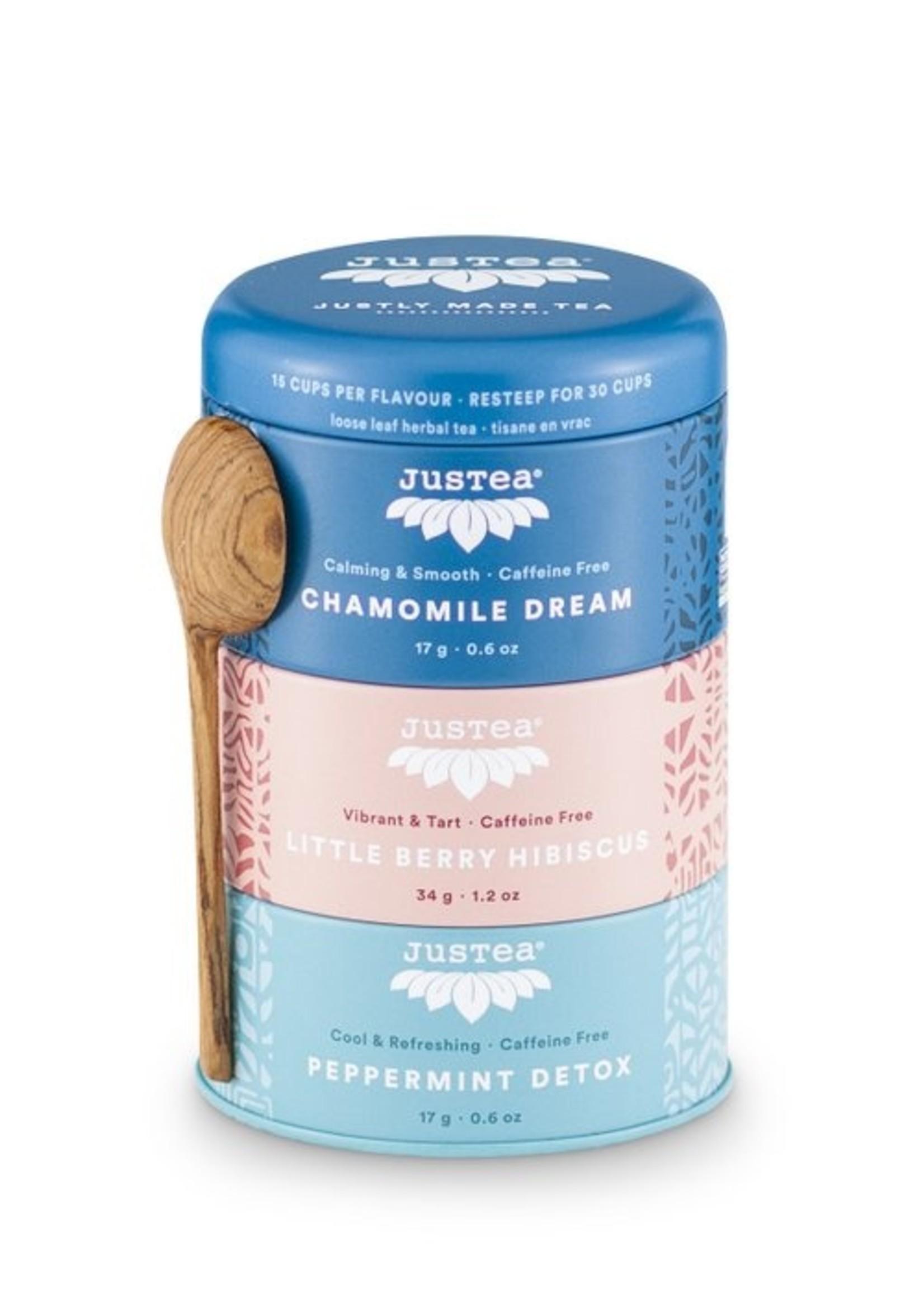 Justea Justea - herbal tea trio - Chamomille dream Little berry Hibiscus Peppermint detox 