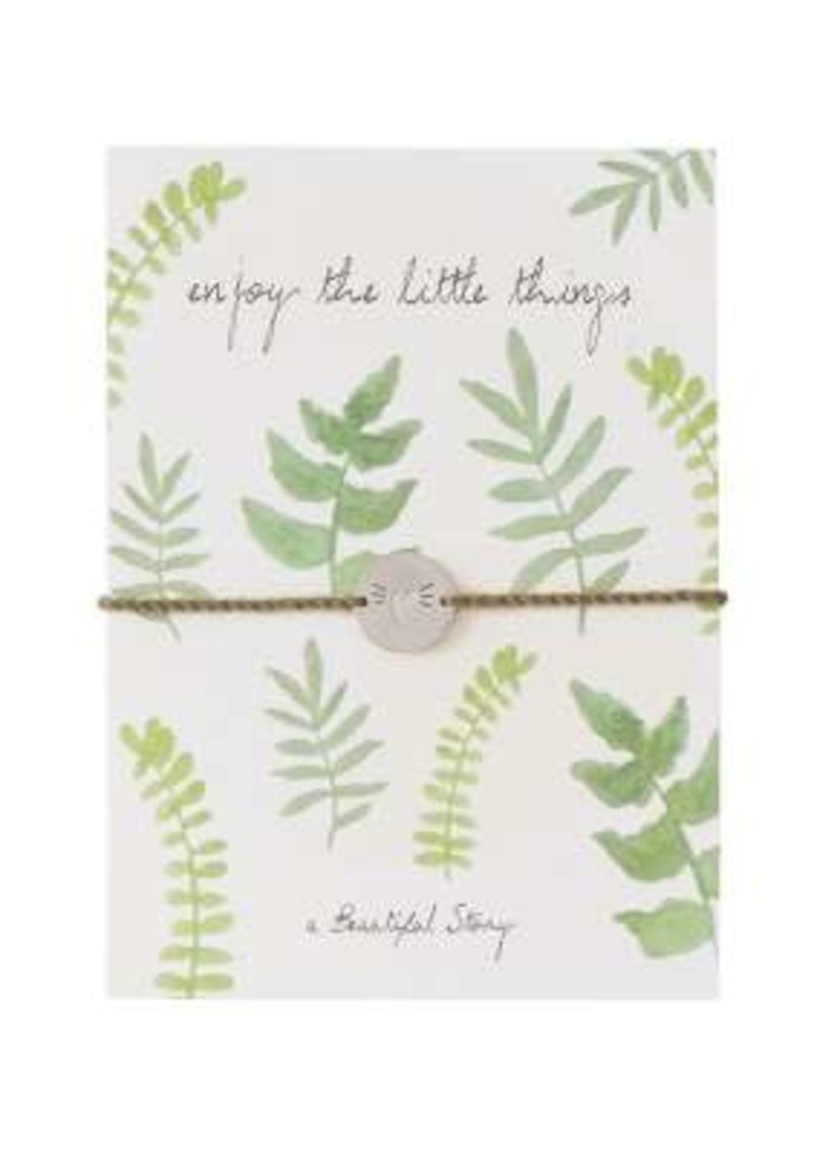 A Beautiful Story Jewelry Postcard Leaves - enjoy the little things