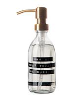 WELLmark WELLmark - Handzeep Fris Linnen - helder glas messing pomp -  250ml - 'may all your troubles be bubbles'