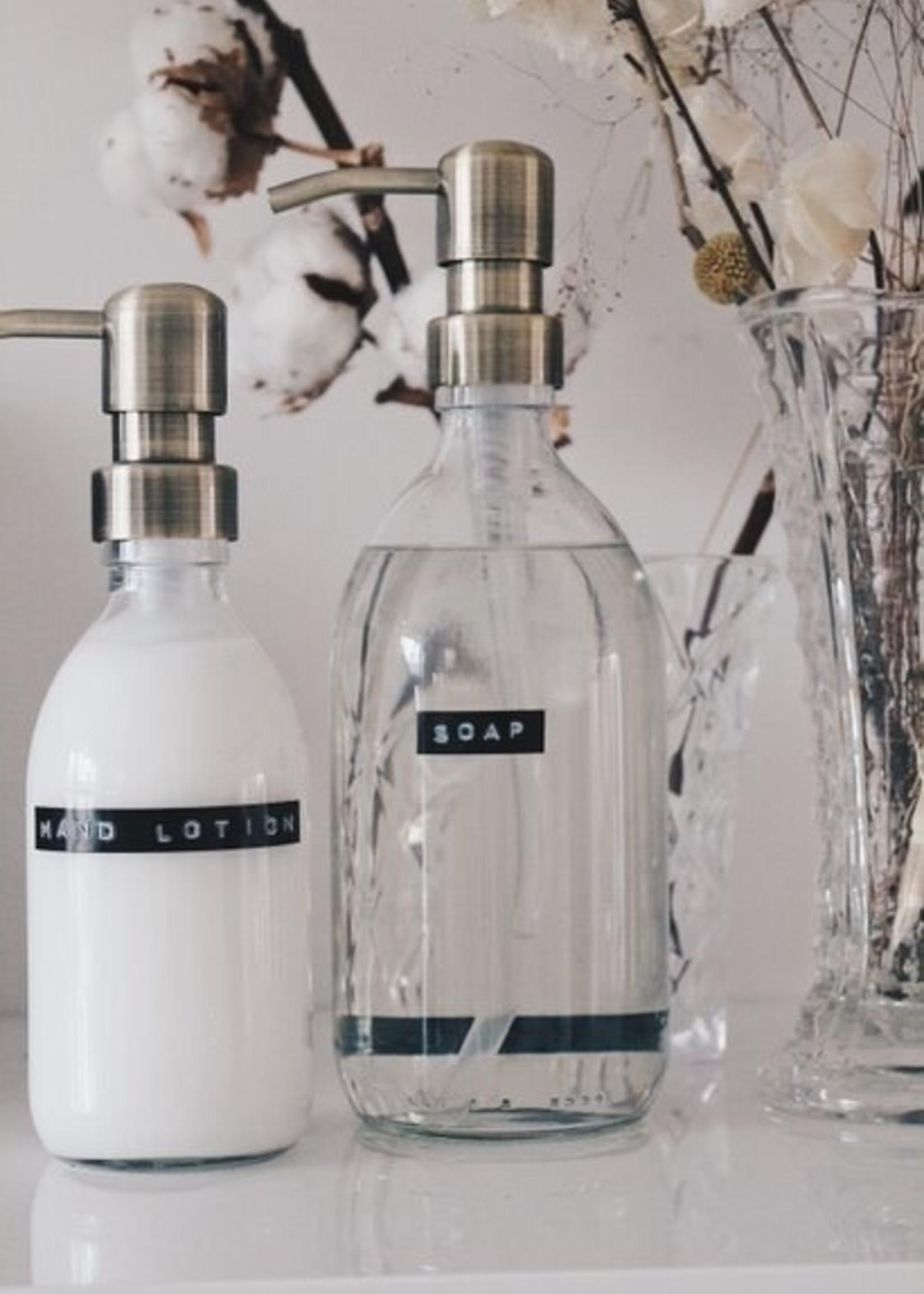WELLmark WELLmark - Handcrème frisse linnen - 250ml - helder glas messing pomp 'good skin'