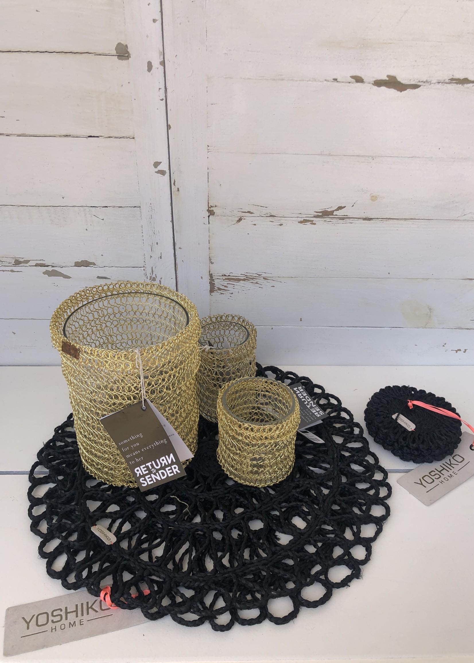Return to Sender Return to Sender - Handmade Golden woven tealight broad
