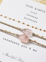 A Beautiful Story Gemstone Card you and me - Rose Quartz Silver Bracelet
