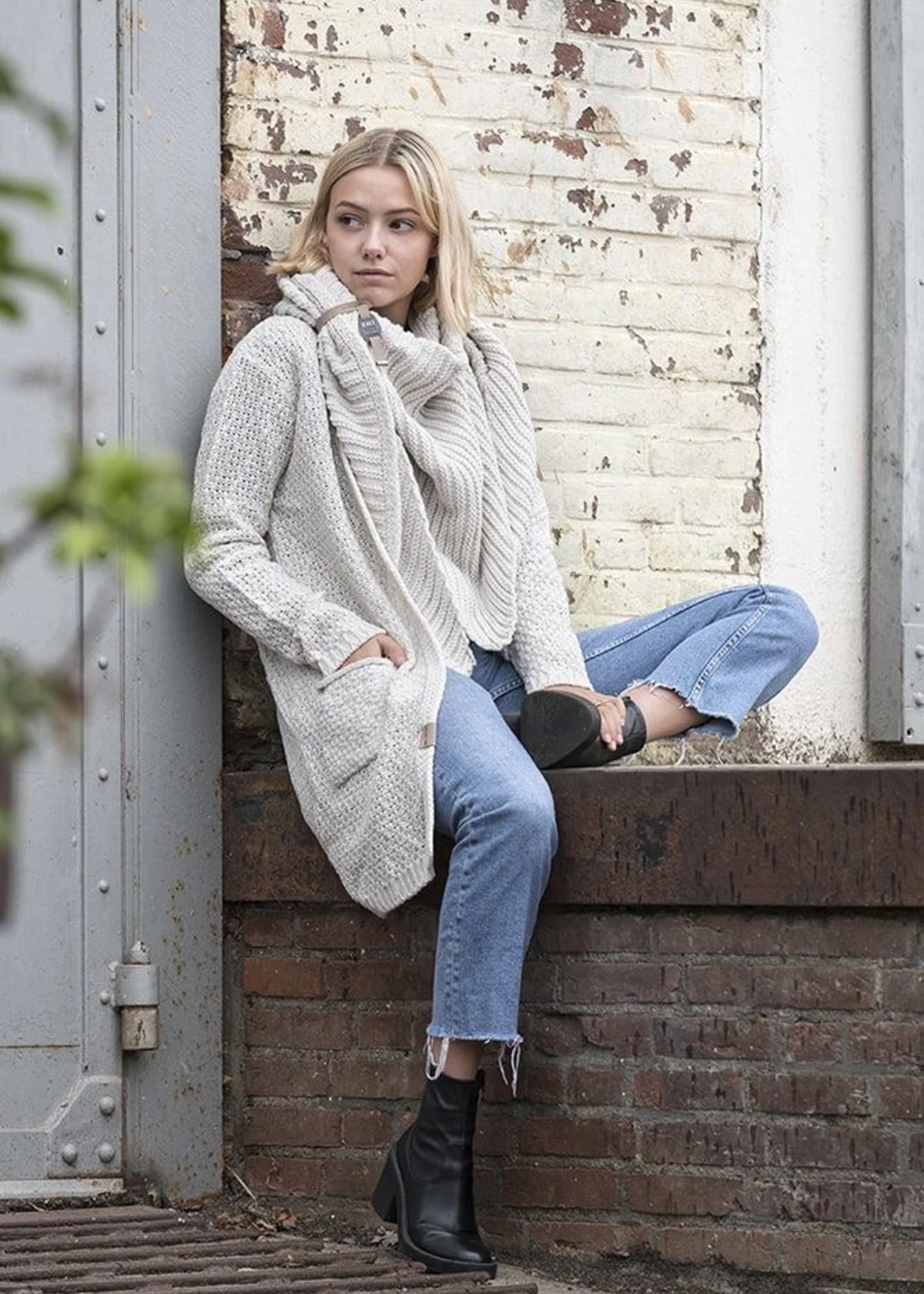 Knit Factory Beige  gebreid vest met steekzak - Luna -  Knit Factory
