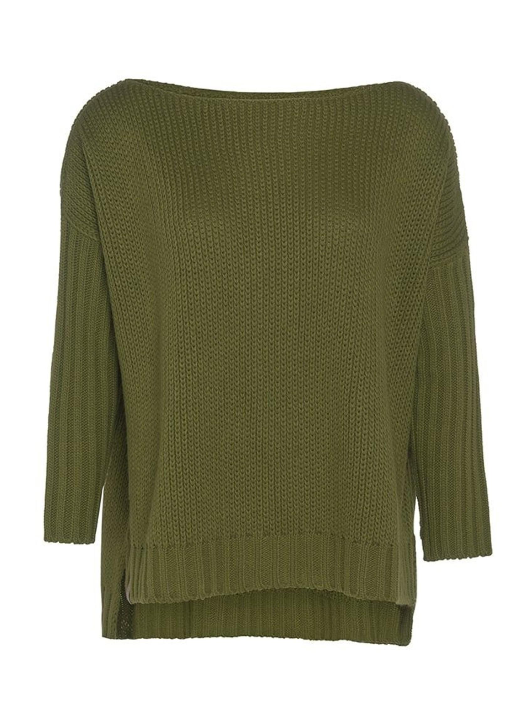 Knit Factory Knit Factory - Kylie Sweater Gebreid - Mos Groen