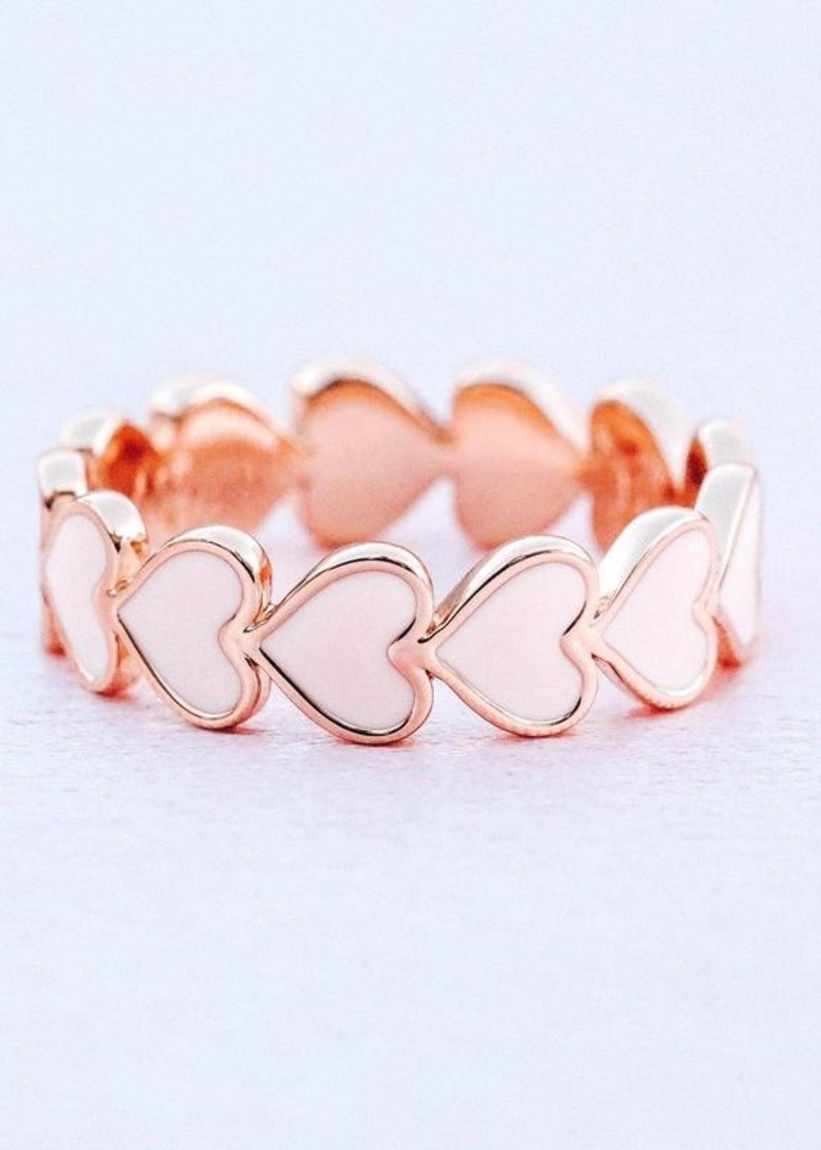 Pura Vida Hartjes Ring - platte rosé goud en roze hartjes - Pura Vida