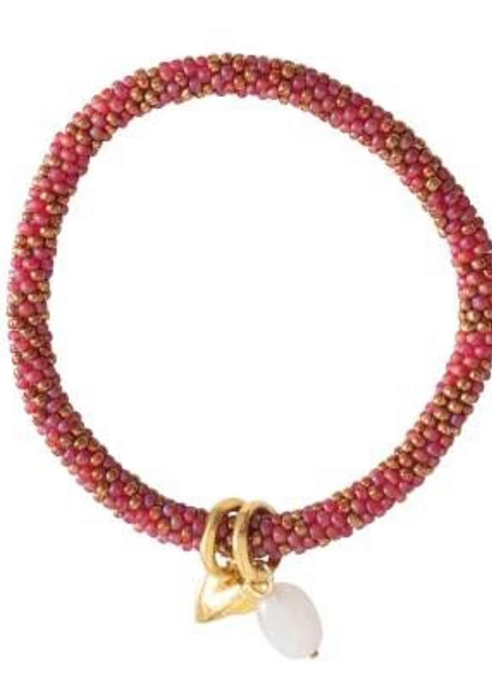 A Beautiful Story a Beautiful Story -Jacky Multi Color Maansteen -  goud armband