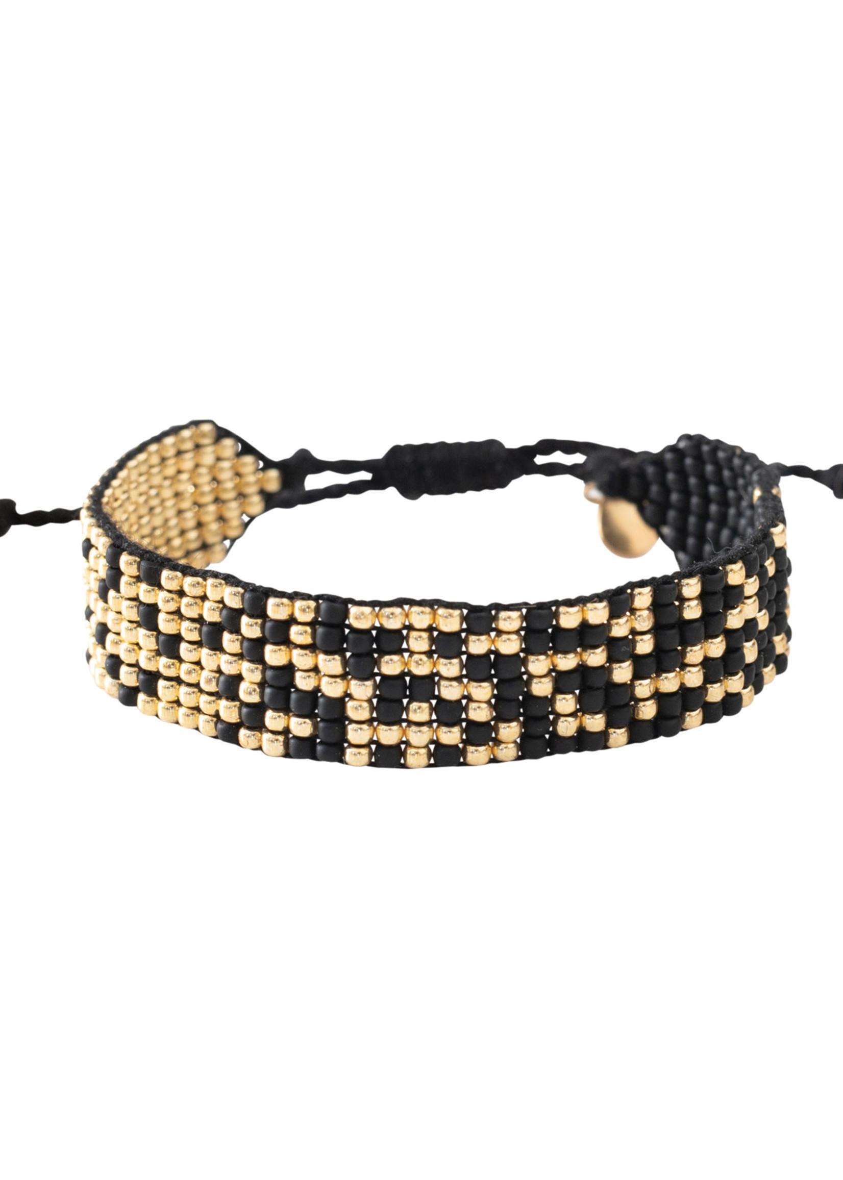 A Beautiful Story a Beautiful Story - Treasure Zwarte Onyx - Goud Armband