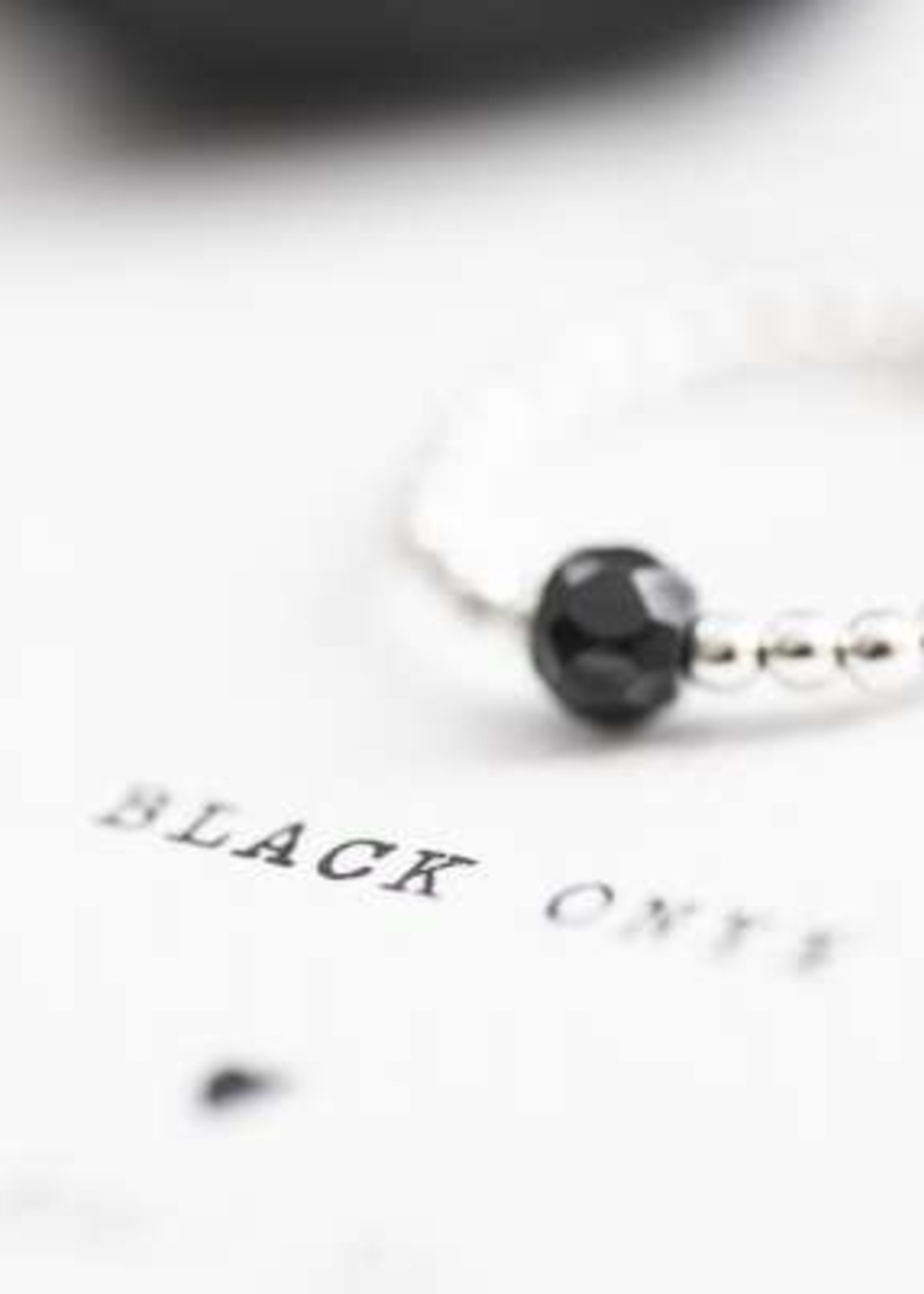 A Beautiful Story a Beautiful Story Sparkle Zwarte Onyx Ring Zilver  M/L