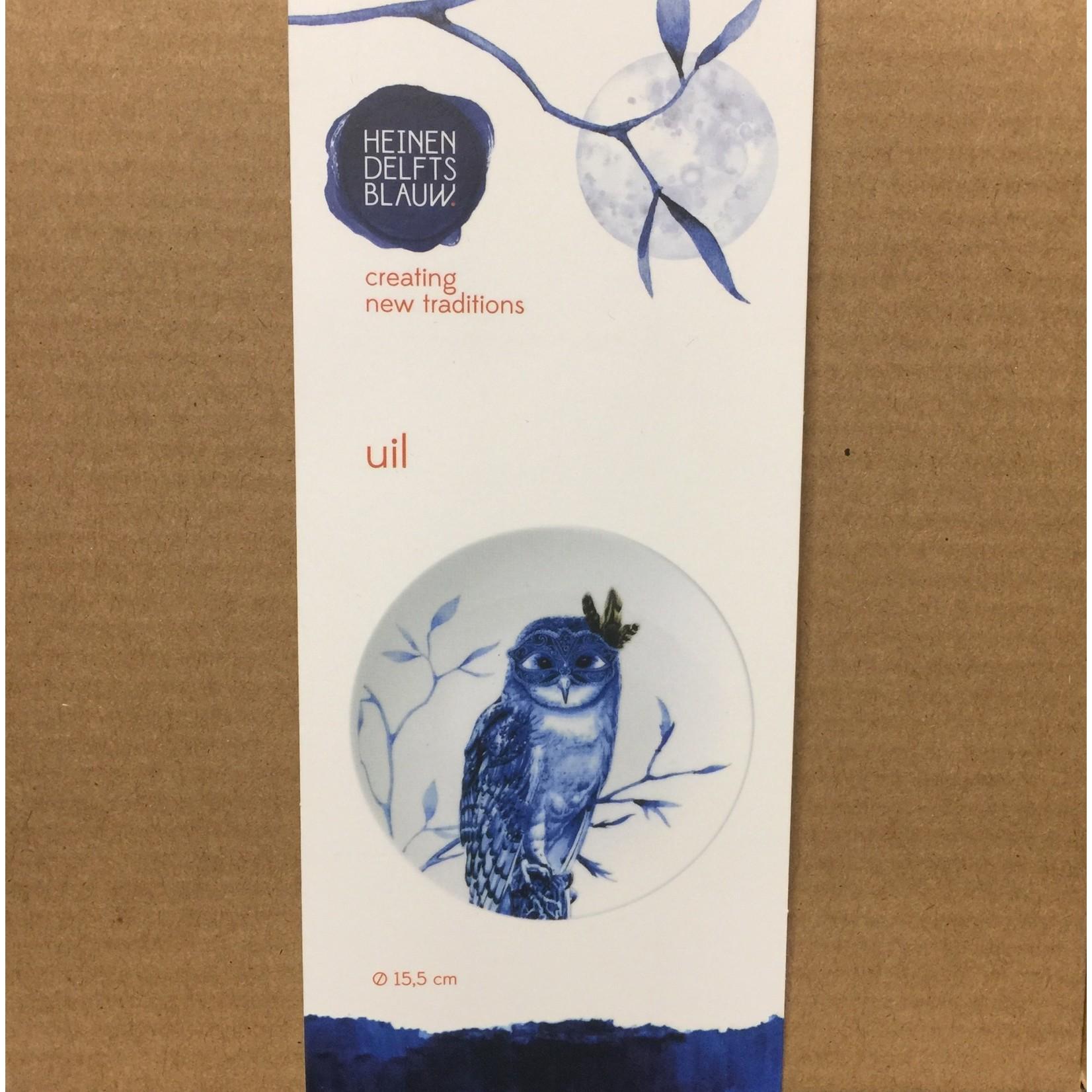 Heinen Heinen Delfts Blauw  wandbord Uil 15.5 cm