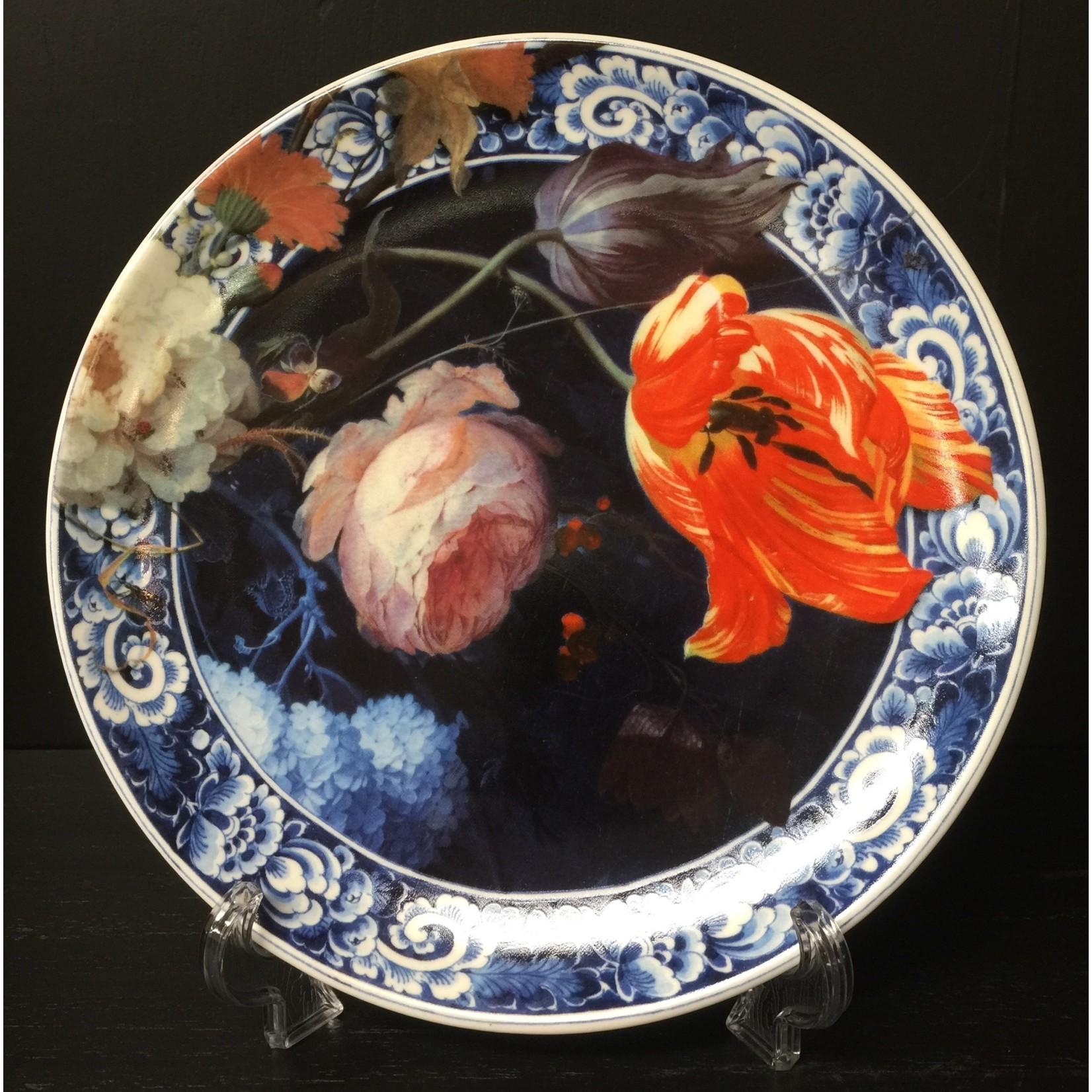 Heinen Heinen Delfts Blauw wandbord Bloemen van de gouden eeuw 20 cm
