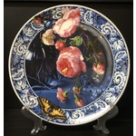 Heinen Heinen Delfts Blauw wandbord Bloemen van de gouden eeuw 26 cm