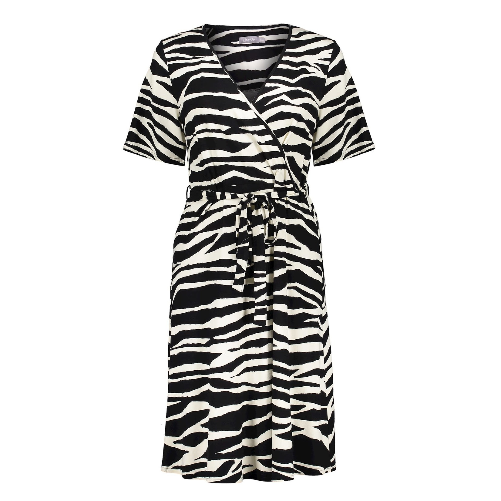 Geisha Geisha dress zebra & strap at waist s/s 17130-20