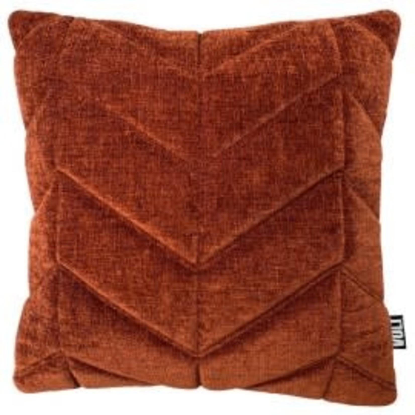 Volt Volt cushion 3D Fishbone velvet dark rust 45x45cm